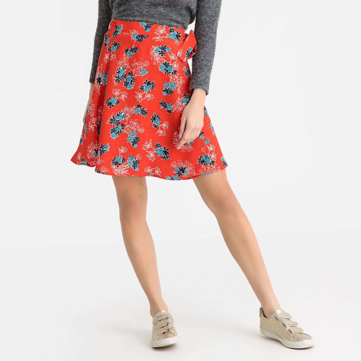 Юбка La Redoute Короткая с рисунком CLEM LISIA XS красный юбка la redoute короткая расклешенная с цветочным рисунком и оборками на поясе xs бежевый