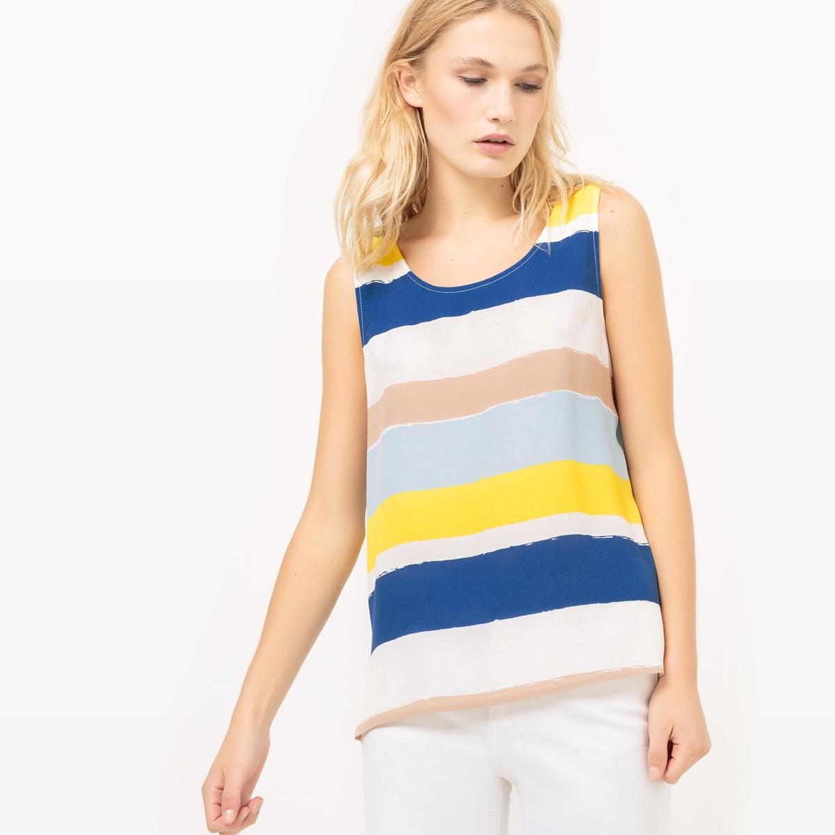Блузка в полоску с круглым вырезом, без рукавов футболка в полоску с круглым вырезом