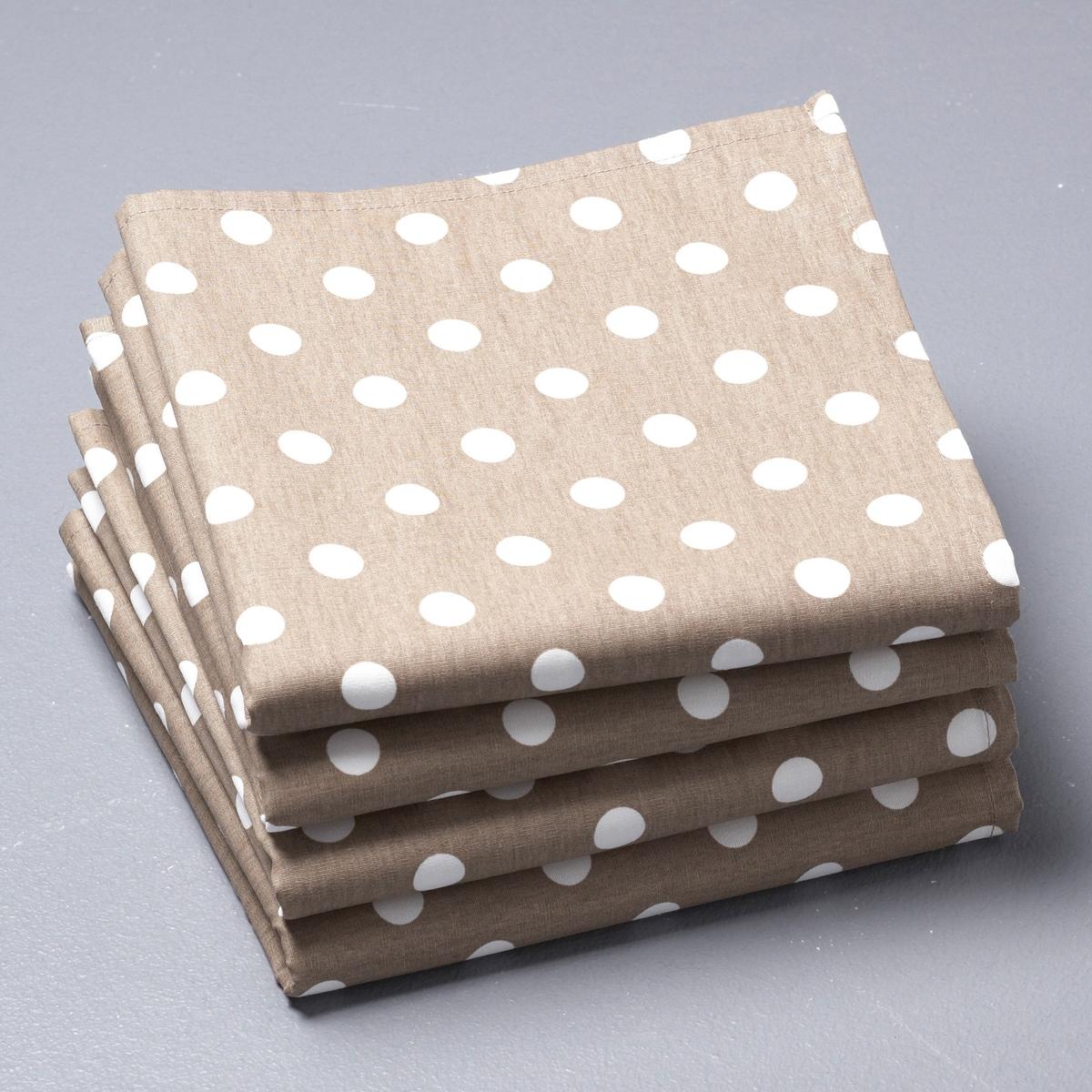 4 салфетки для приборовСалфетки в горошек GARDEN-PARTY. 100% хлопка. Размер 45 х 45 см. Стирка при 40°. В комплекте 4 салфетки. Превосходная стойкость цвета.<br><br>Цвет: серо-коричневый,серый/ белый<br>Размер: 45 x 45  см