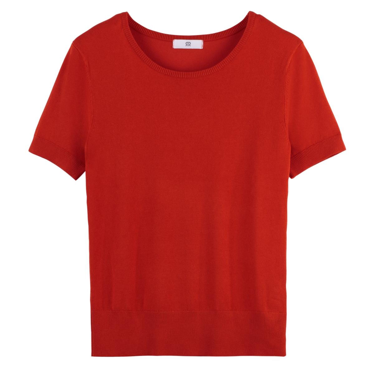 Jersey con cuello redondo y manga corta, de punto fino