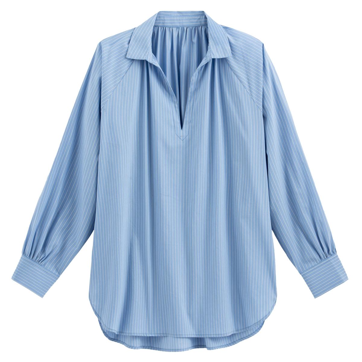 Blusa túnica amplia a rayas, de manga larga