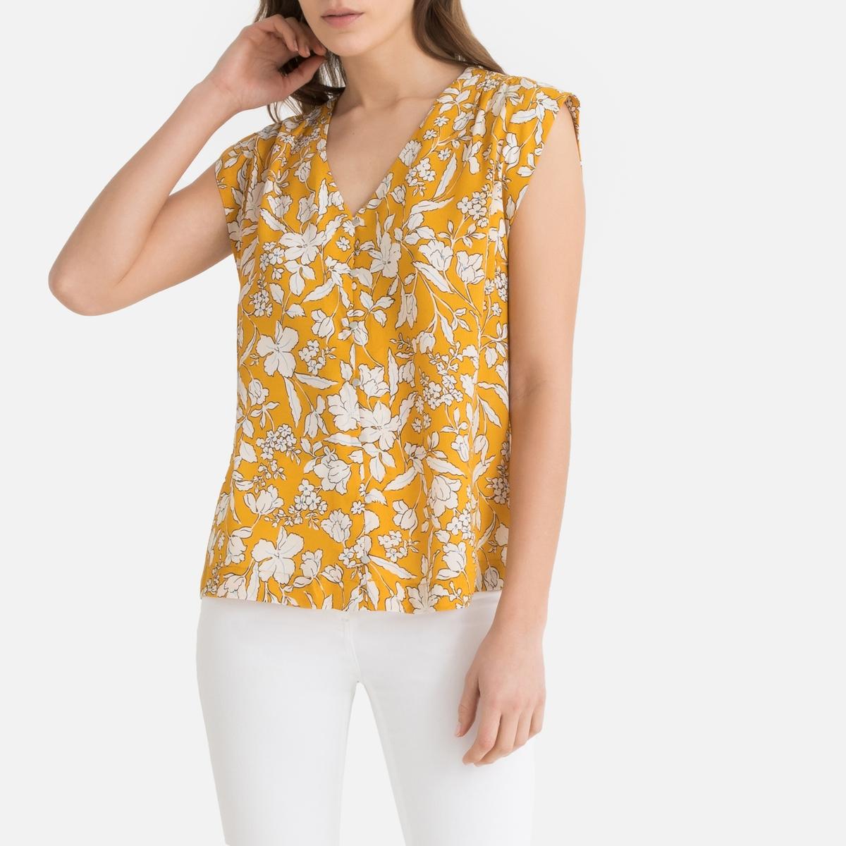 цена Блузка La Redoute С V-образным вырезом и цветочным рисунком без рукавов M желтый онлайн в 2017 году