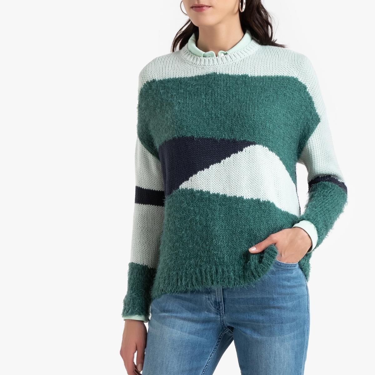 Пуловер La Redoute С рисунком интарсия из плотного трикотажа 46/48 (FR) - 52/54 (RUS) зеленый