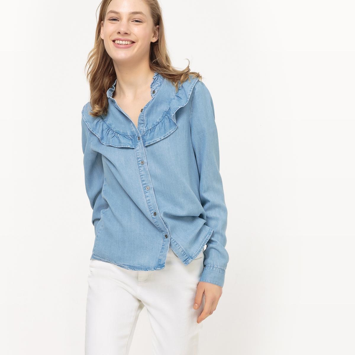 Рубашка с воланами, длинные рукава