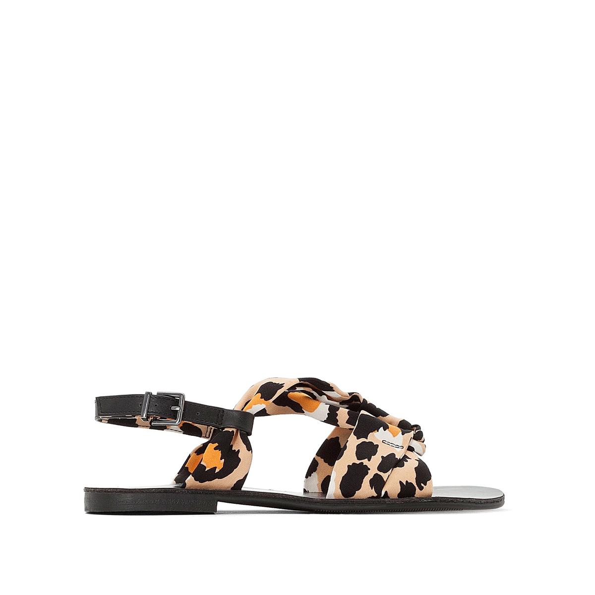 Sandálias rasas, estampado leopardo