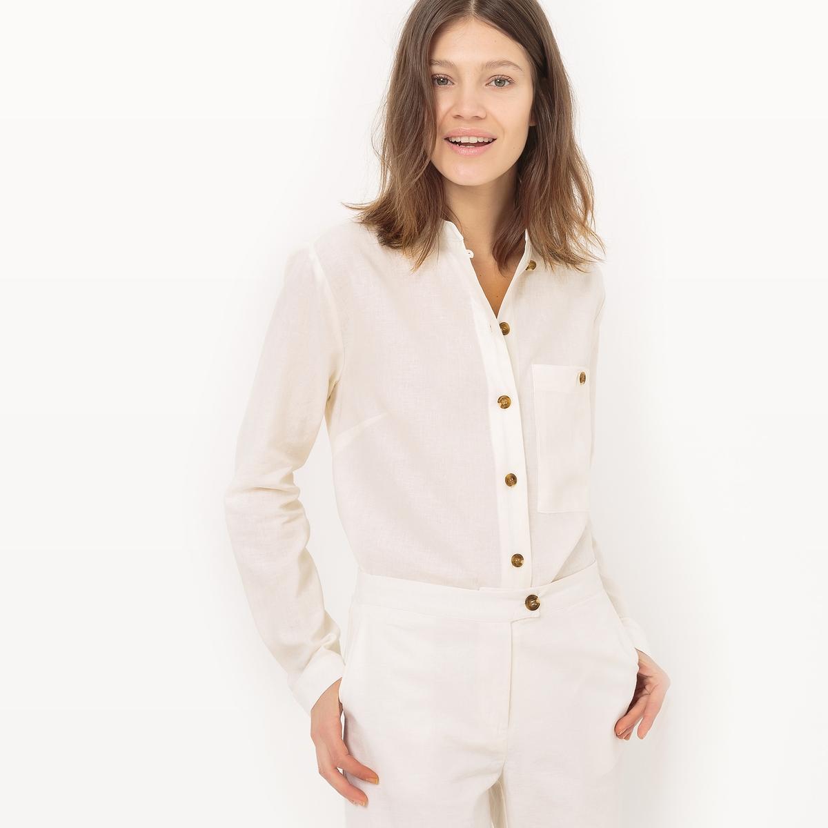 Рубашка со стоячим воротником, лен