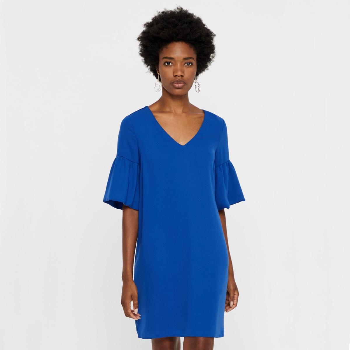 Платье с v-образным вырезом с воланами и короткими рукавами