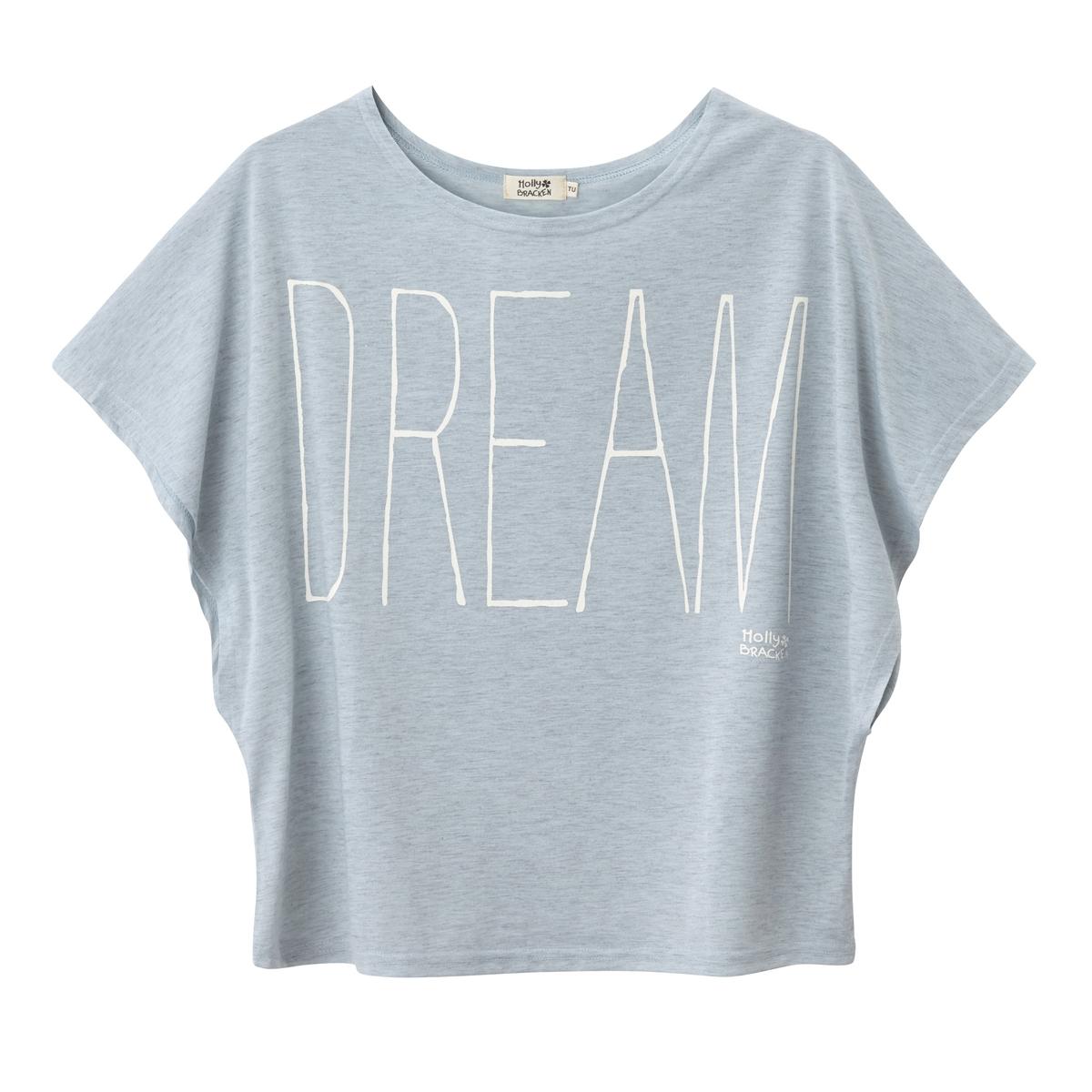 Футболка объемного покроя DreamМатериал : 100% полиэстер   Длина рукава : короткие рукава  Форма воротника : без воротника  Покрой футболки: любой  Рисунок : рисунок спереди<br><br>Цвет: розовая пудра,серый<br>Размер: S/M.S/M