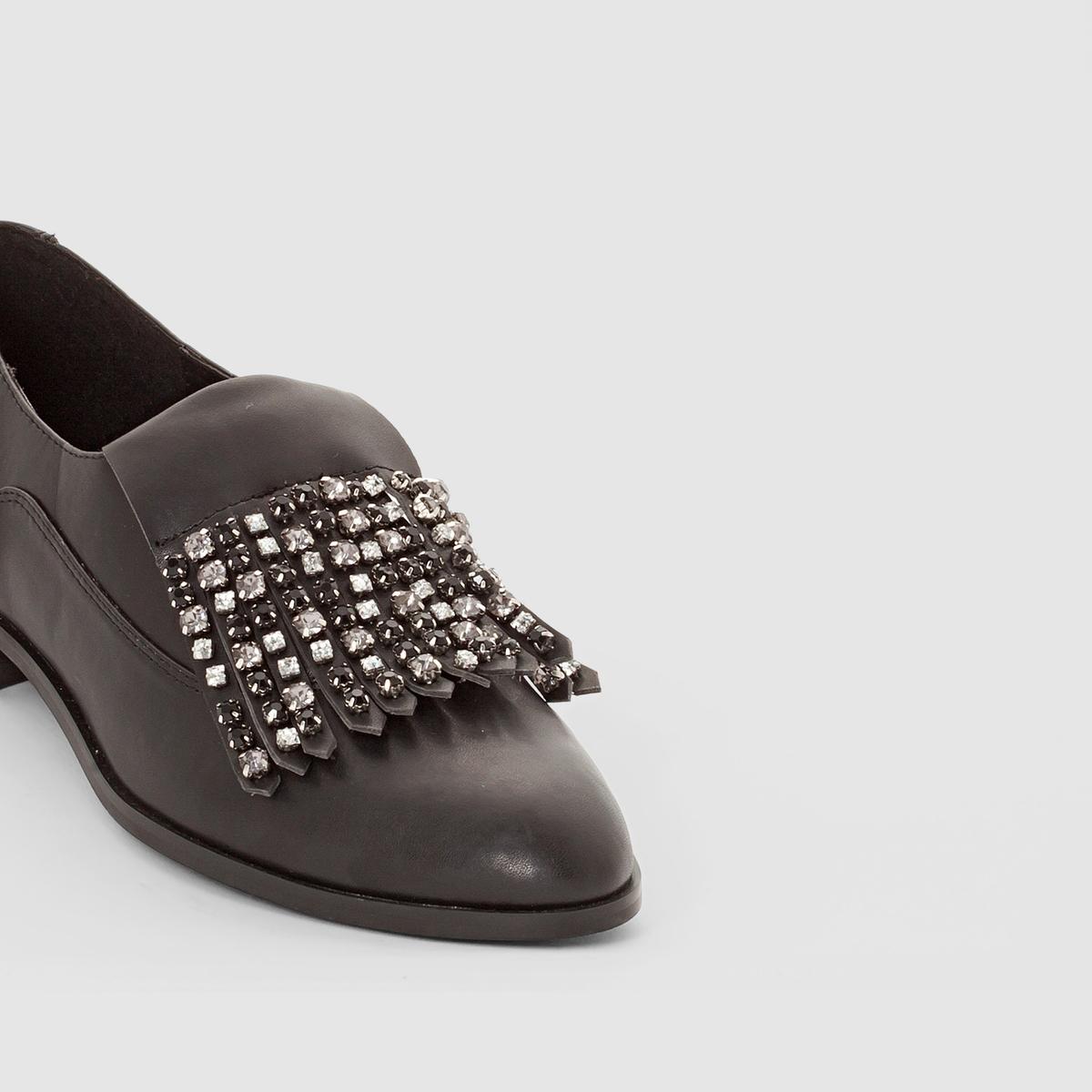Ботинки-дерби со вставкой-украшениемВерх : синтетический материал     Подкладка : Кожа     Стелька : Кожа     Подошва : Эластомер     Высота каблука : плоский     Носок : Закругленный     Застежка : без застежки<br><br>Цвет: черный<br>Размер: 36