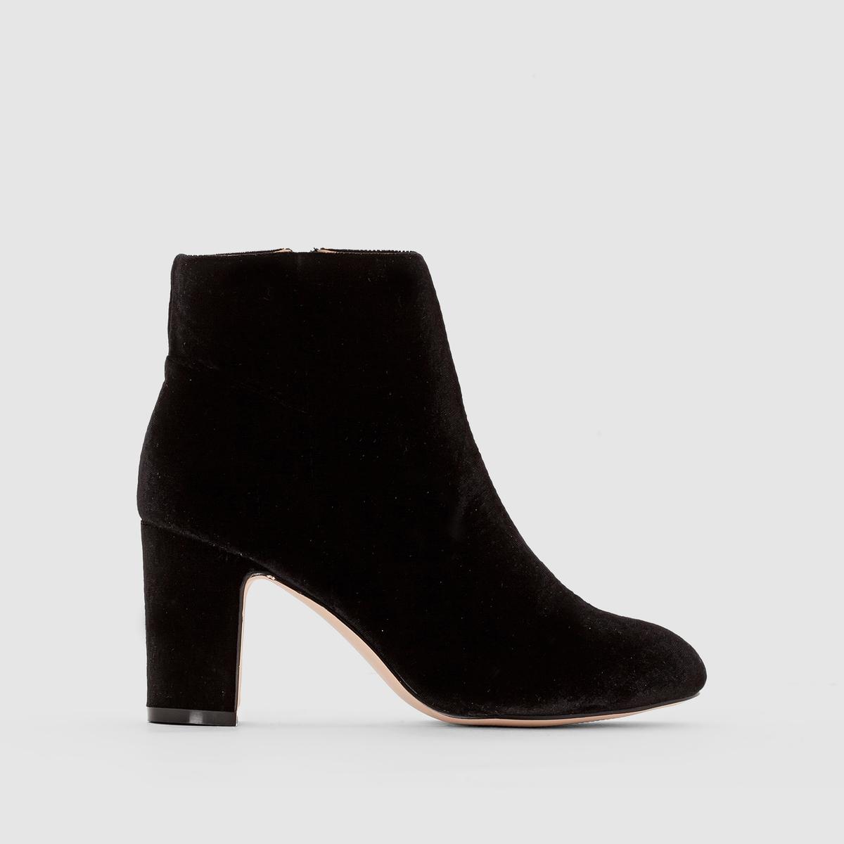 Ботильоны из велюра на каблукеПреимущества : элегантные ботильоны на высоком красивом каблуке с голенищем из текстиля и застежкой на молнию.<br><br>Цвет: черный<br>Размер: 39.36.37