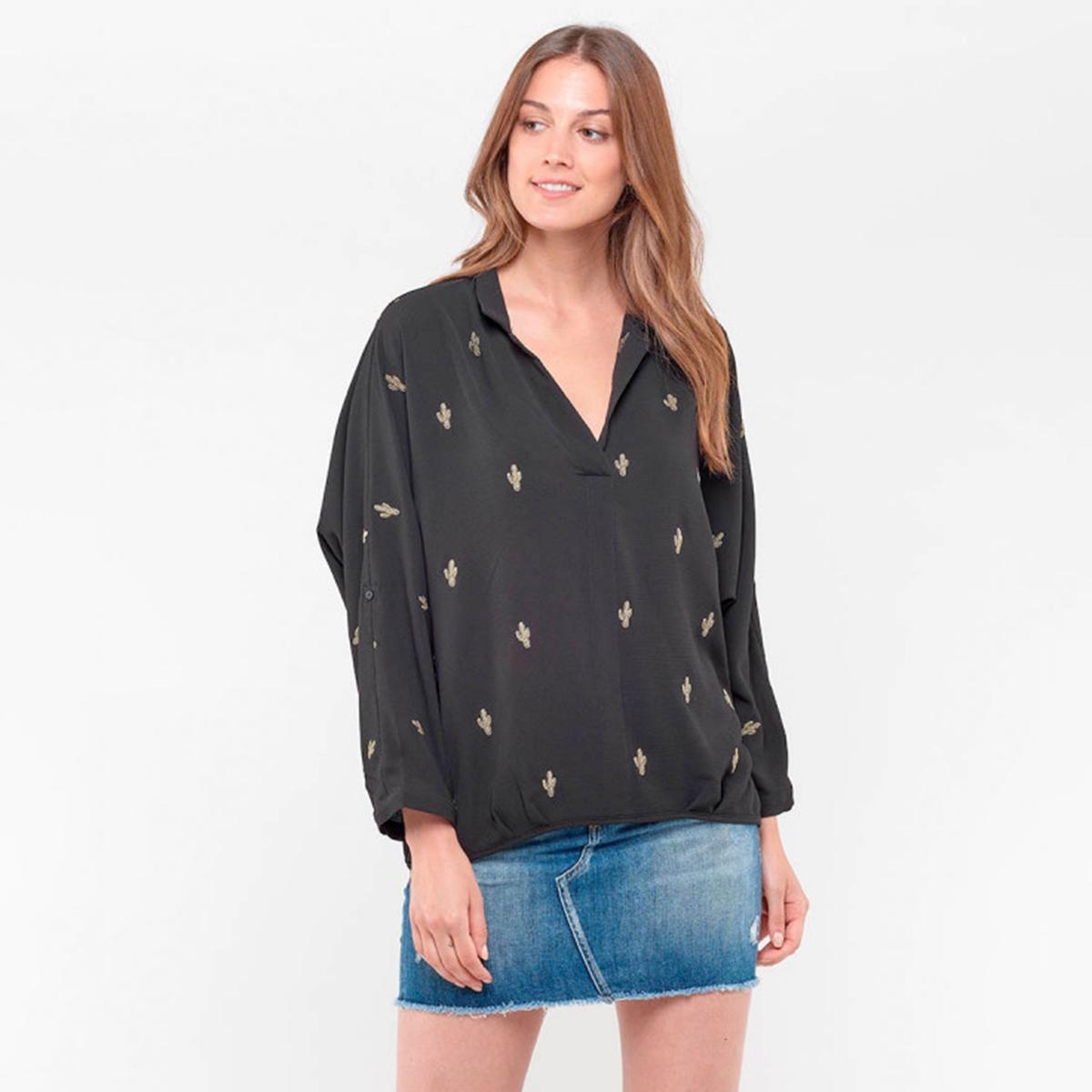 Блузка La Redoute С V-образным вырезом и вышивкой кактус S черный свитшот la redoute с круглым вырезом и вышивкой s черный