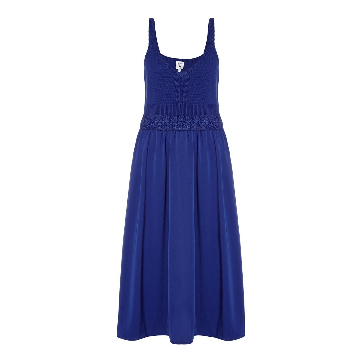 Платье длинное с тонкими бретелямиМатериал : 55% акрила, 45% хлопка   Длина рукава : тонкие бретели   Форма воротника : круглый вырез  Покрой платья : длинное платье  Рисунок : однотонная модель    Длина платья : длинное<br><br>Цвет: синий