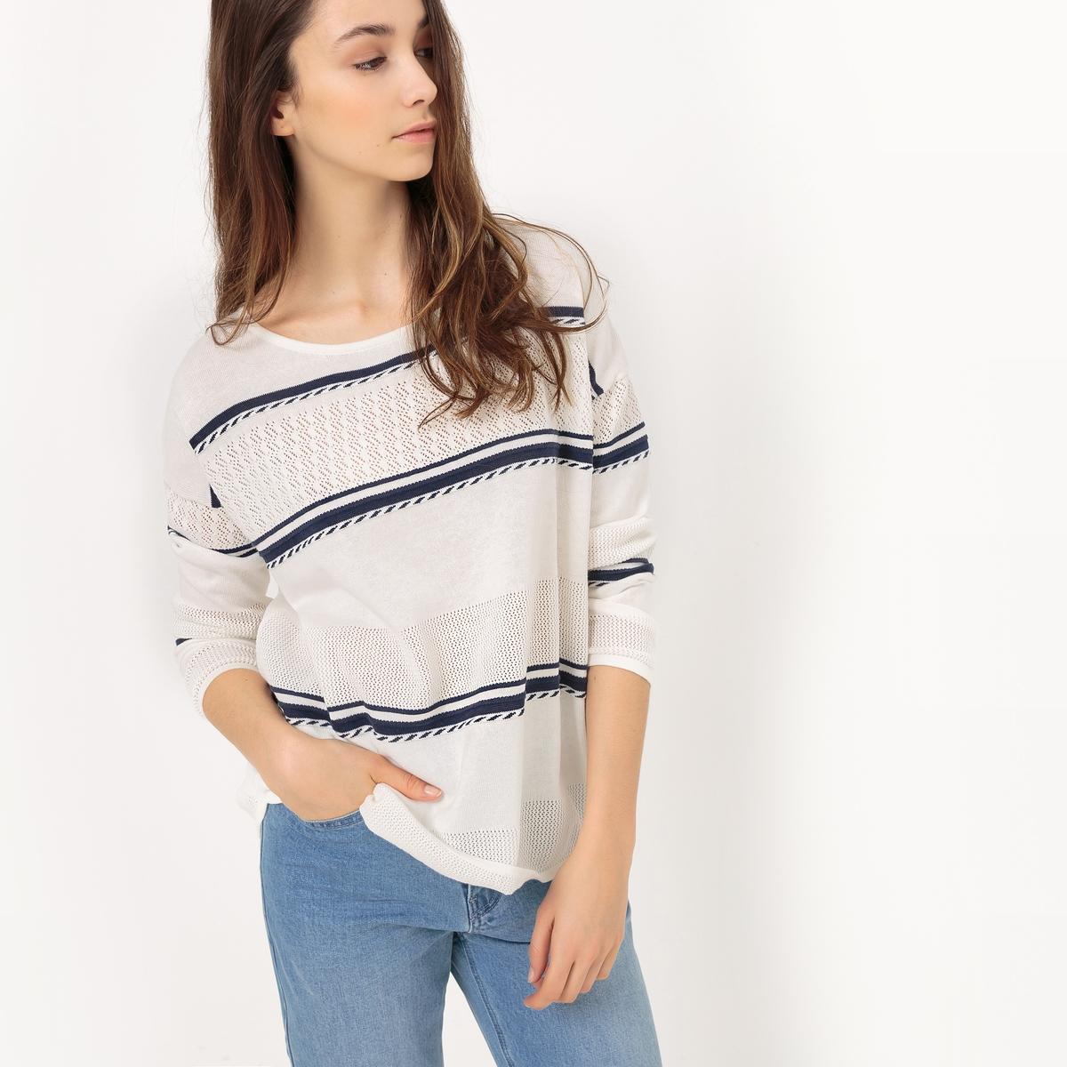 Пуловер объемный в полоску