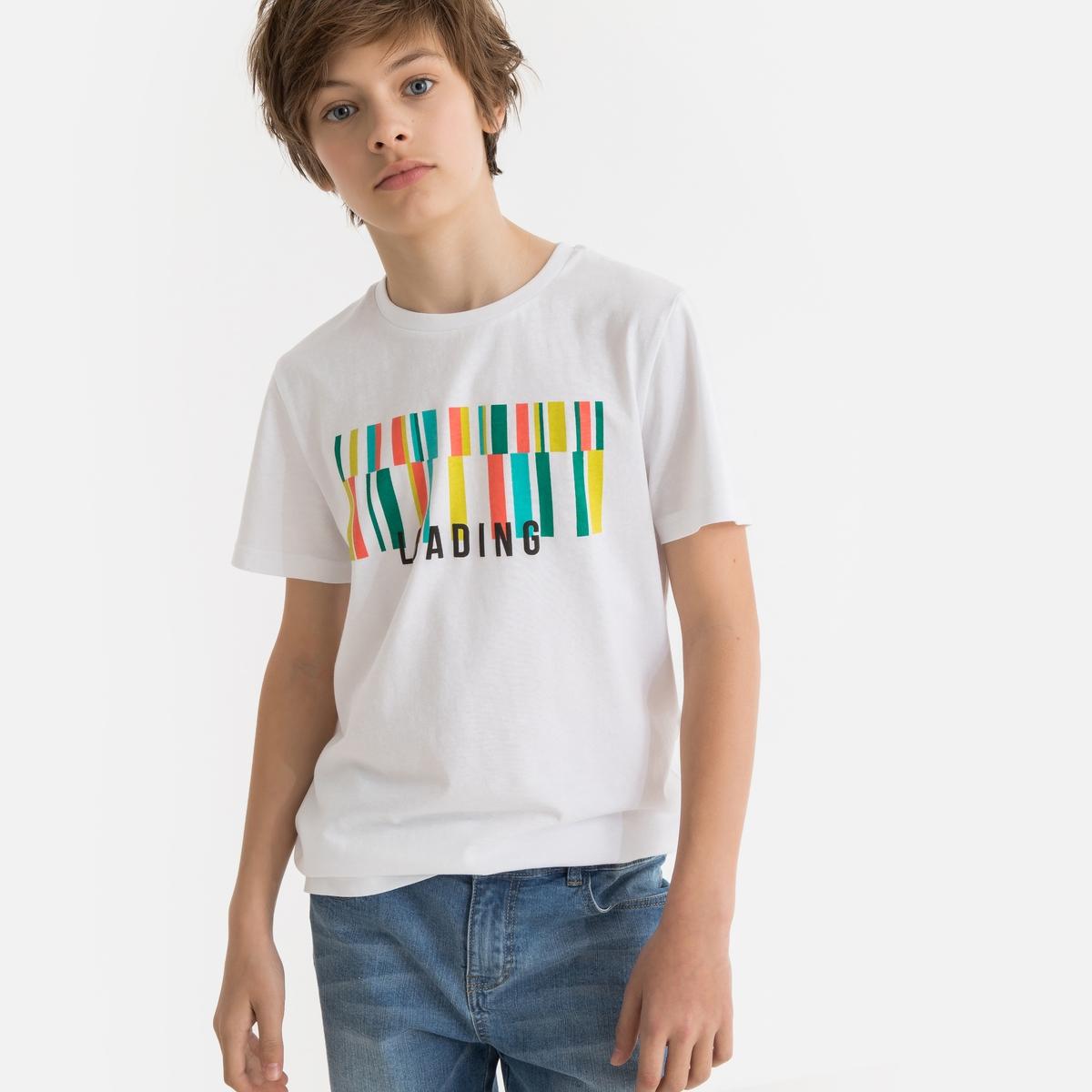Футболка La Redoute С круглым вырезом и рисунком спереди 10 лет - 138 см белый футболка la redoute с вышитым рисунком спереди 10 лет 138 см серый