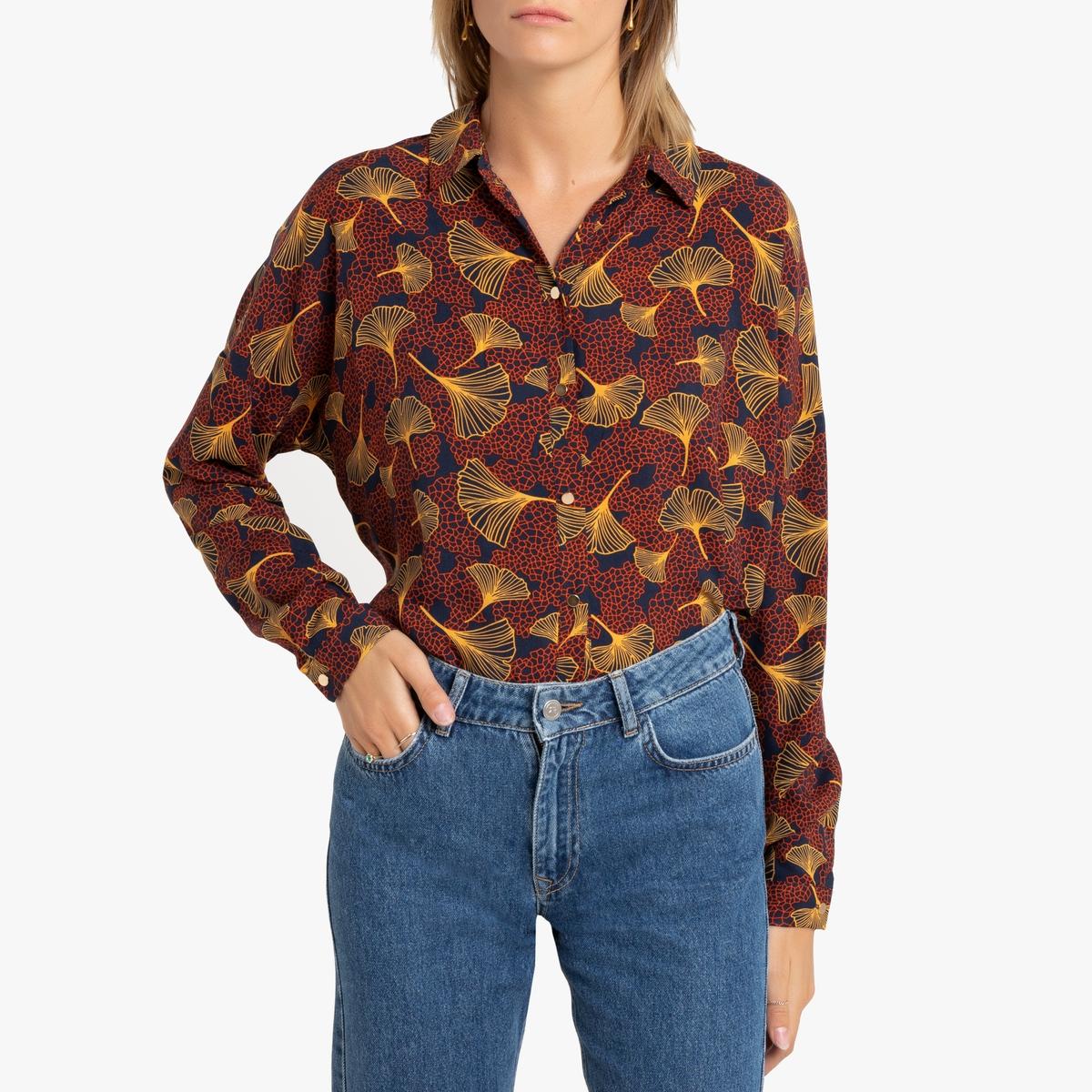 Блузка La Redoute С рисунком листья 34 (FR) - 40 (RUS) красный брюки la redoute узкие дудочки с жаккардовым рисунком 50 fr 56 rus черный