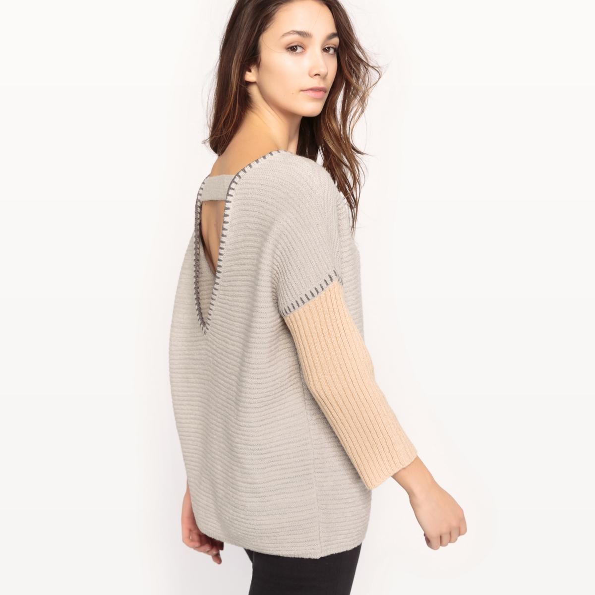 Пуловер двухцветныйМатериал: 7% шерсти, 39% акрила, 37% хлопка, 3% эластана.Длина рукава: длинные рукава.Форма воротника: круглый вырез.Покрой пуловера: стандартный.Рисунок: однотонная модель.  Особенность пуловера: глубокий вырез сзади.<br><br>Цвет: серый/бежевый<br>Размер: L.M
