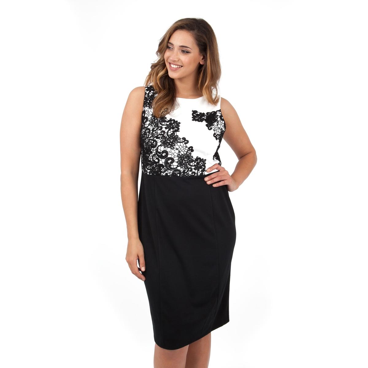 ПлатьеПлатье без рукавов - KOKO BY KOKO. Кружевные вставки сверху. Длина ок.104 см. 100% полиэстера.<br><br>Цвет: черный