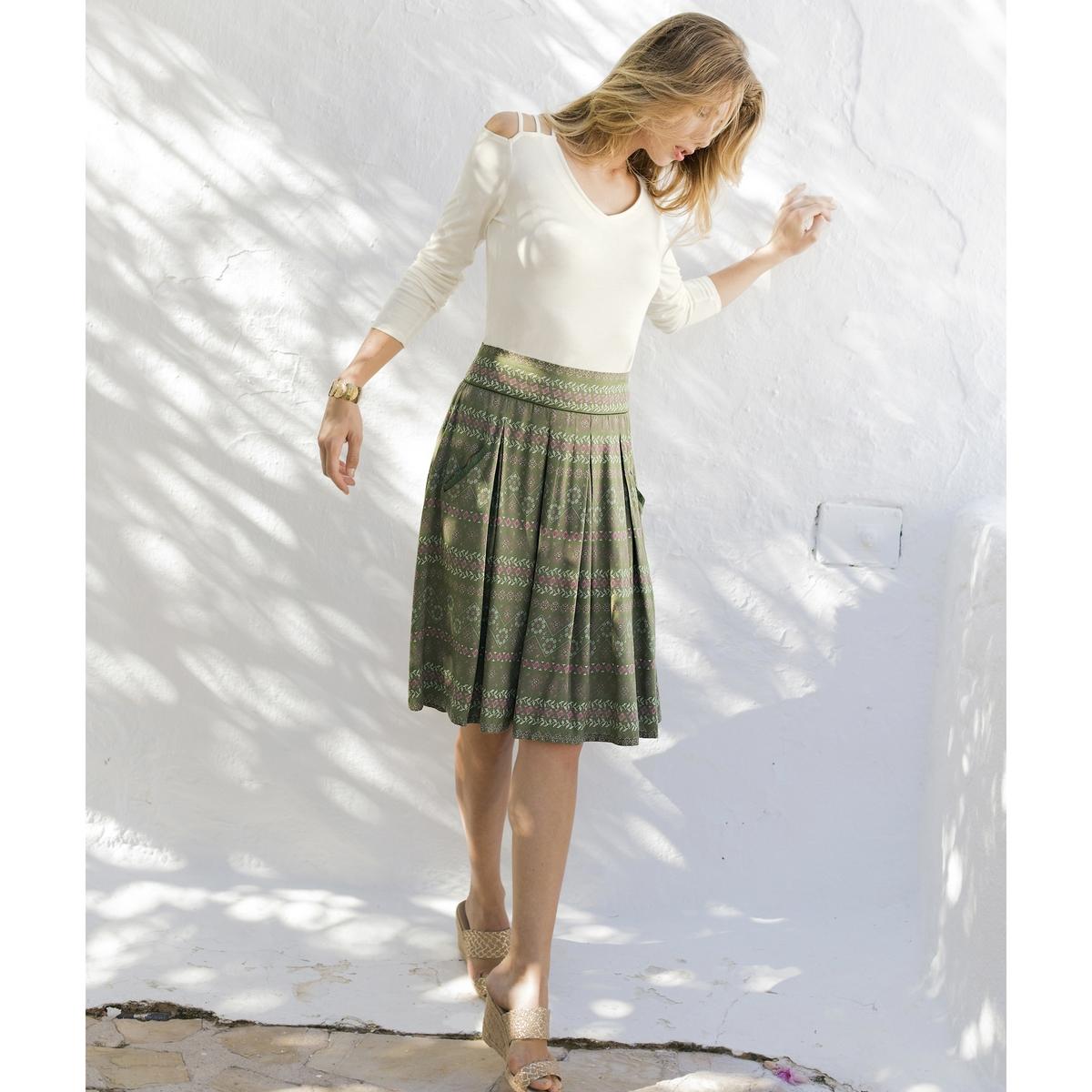 Imagen principal de producto de Falda estampada evasé, de tejido vaporoso - Anne weyburn