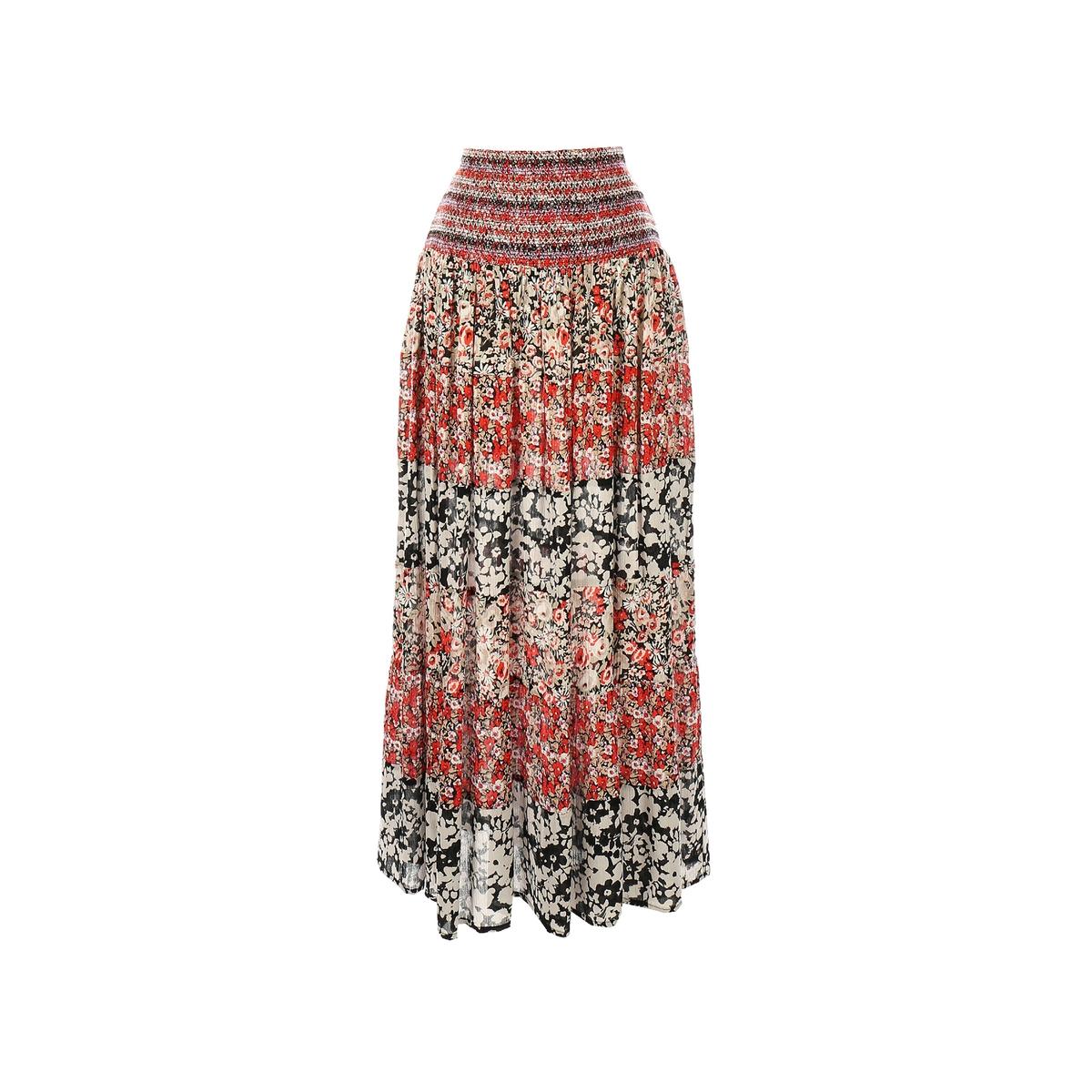 Юбка длинная с рисункомМатериал : 100% вискоза Особенность пояса : эластичный пояс Рисунок : принт Длина юбки : длинная<br><br>Цвет: красный