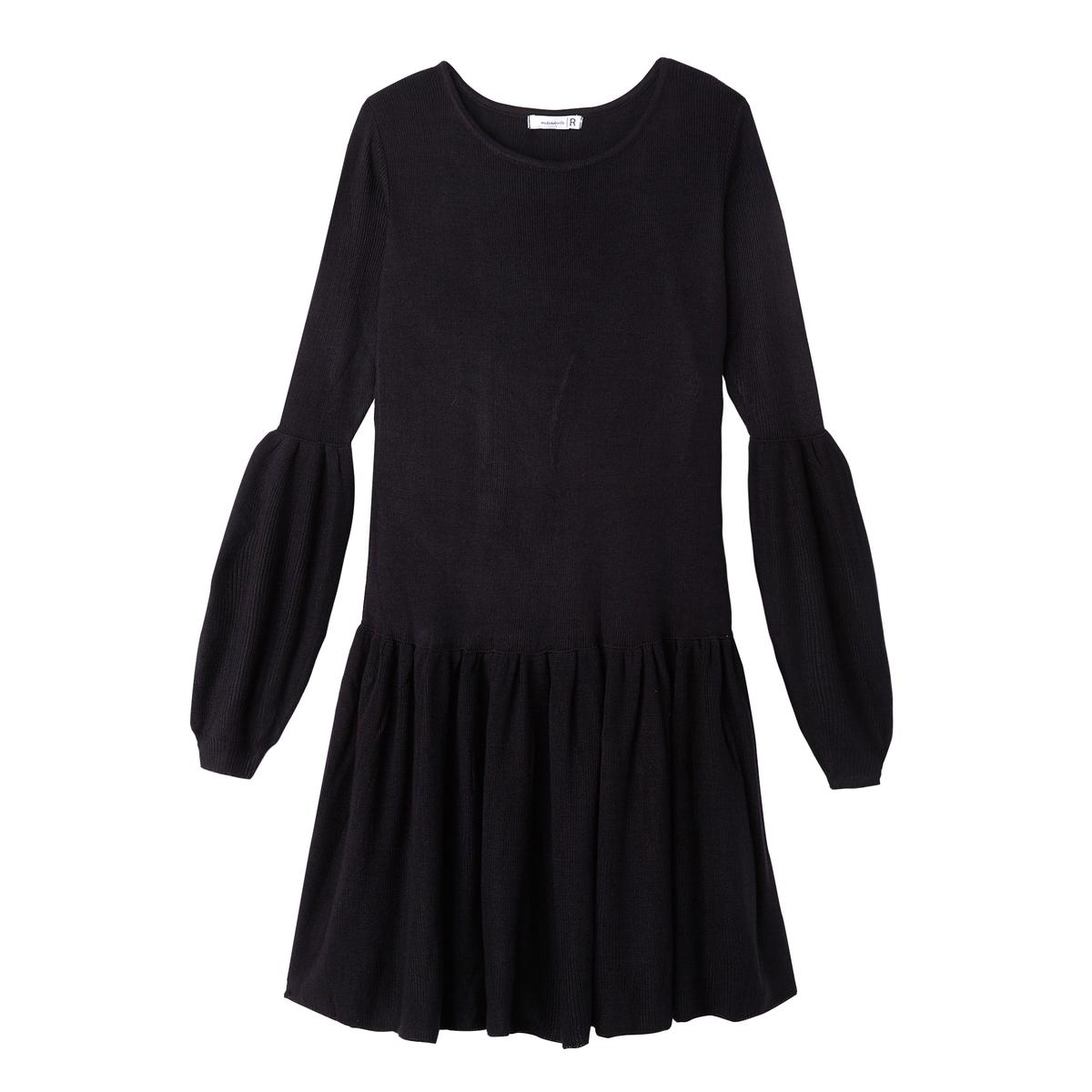 Платье-пуловер La Redoute Однотонное с баской и рукавами с напуском S синий шорты la redoute плавательные с принтом джунгли мес года 18 мес 81 см синий