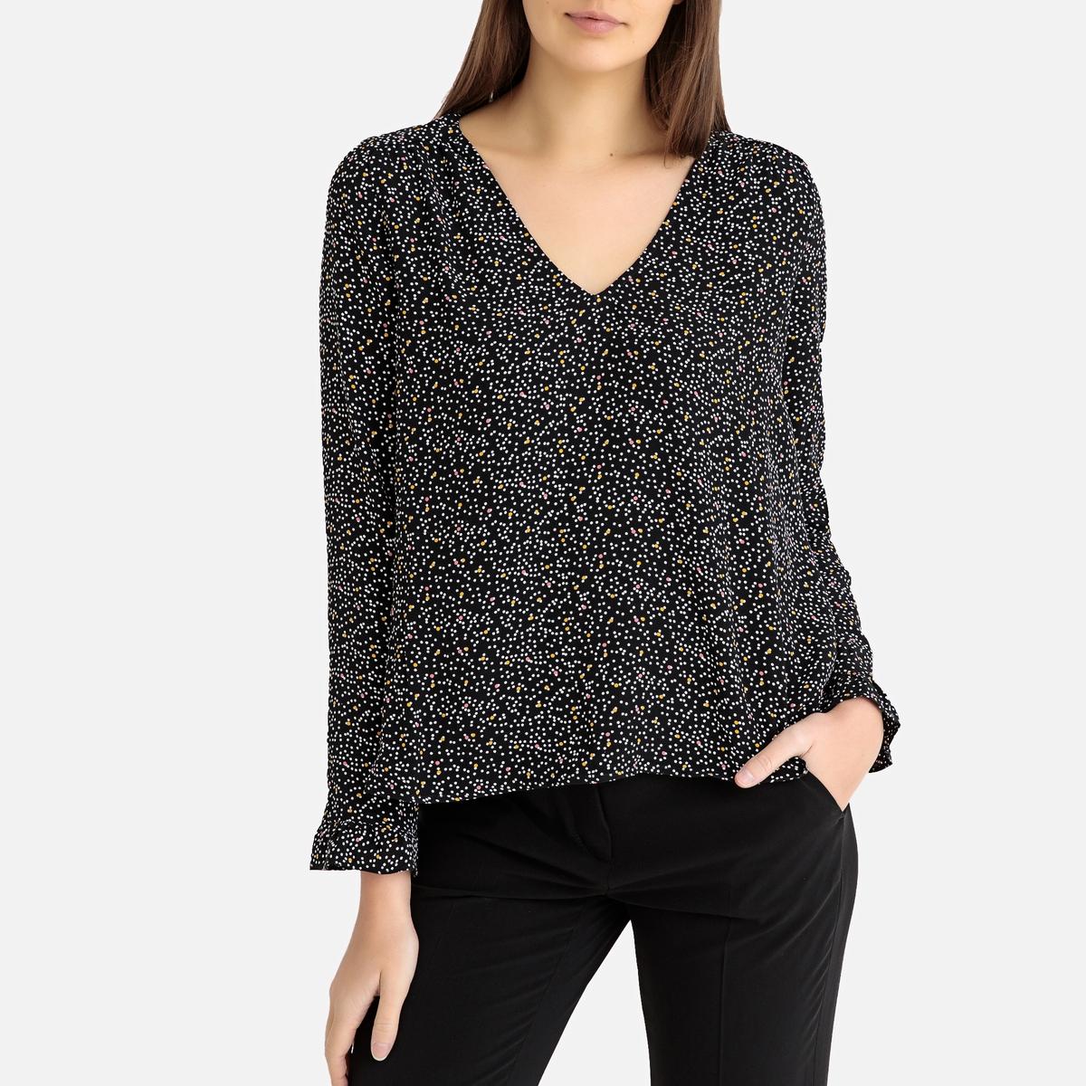 Блузка La Redoute С V-образным вырезом MARIA TIPOIS XS черный блузка la neige collection