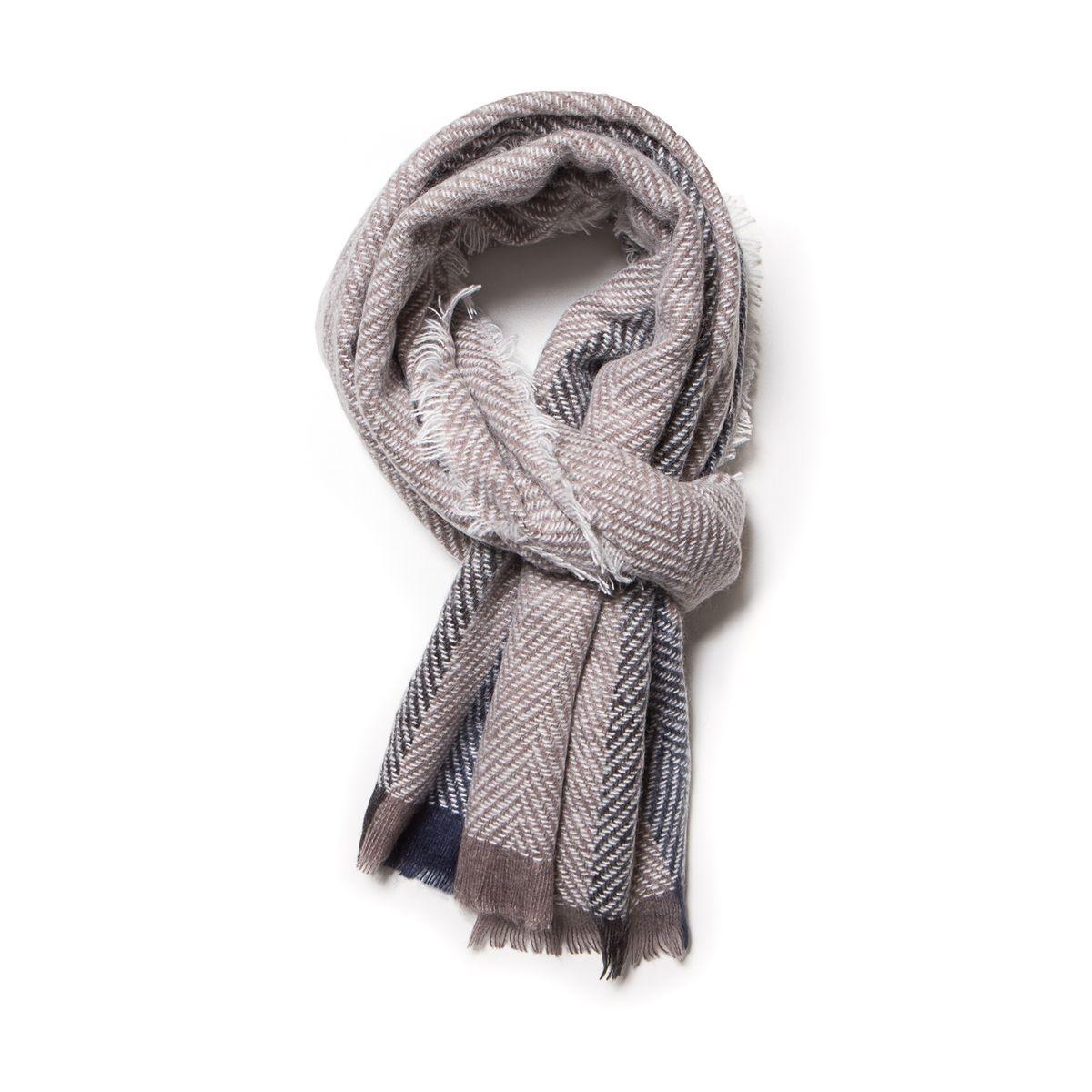 Echarpe hiver chevron rayes gris clair