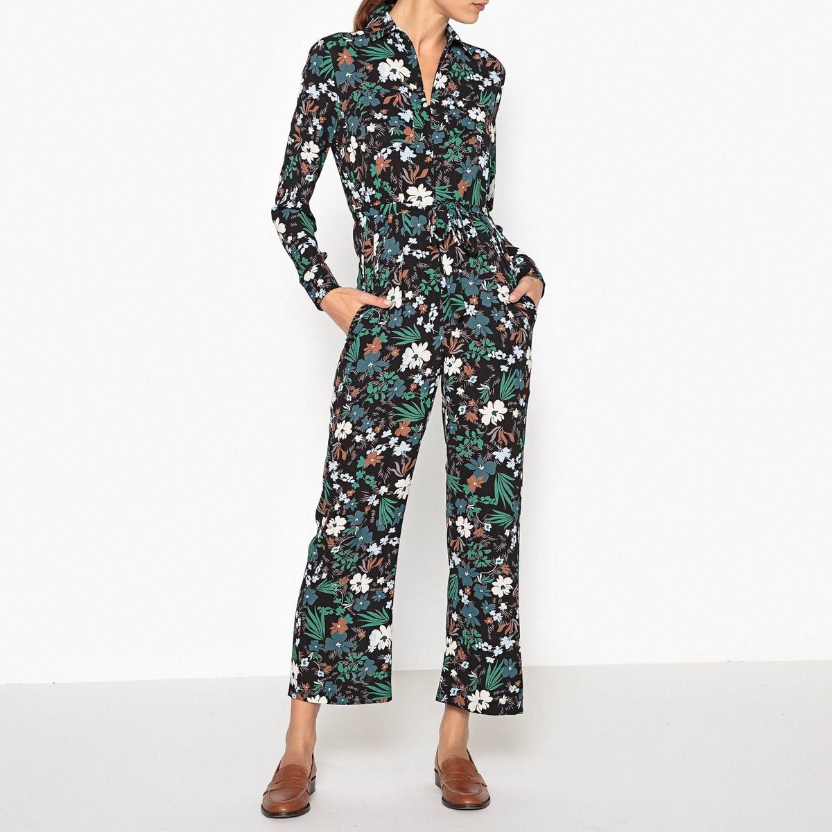 Комбинезон с брюками, с рисунком GAETANКомбинезон с брюками с длинными рукавами TOUPY - модель GAETAN с завязкой на поясе, широкого покроя, из ткани с рисунком. Детали •  Прямой покрой •  Цветочный рисунок  Состав и уход •  3% эластана, 97% полиэстера •  Следуйте советам по уходу, указанным на этикетке •  Воротник классический со свободными краями •  Низ рукавов прямой<br><br>Цвет: цветочный рисунок