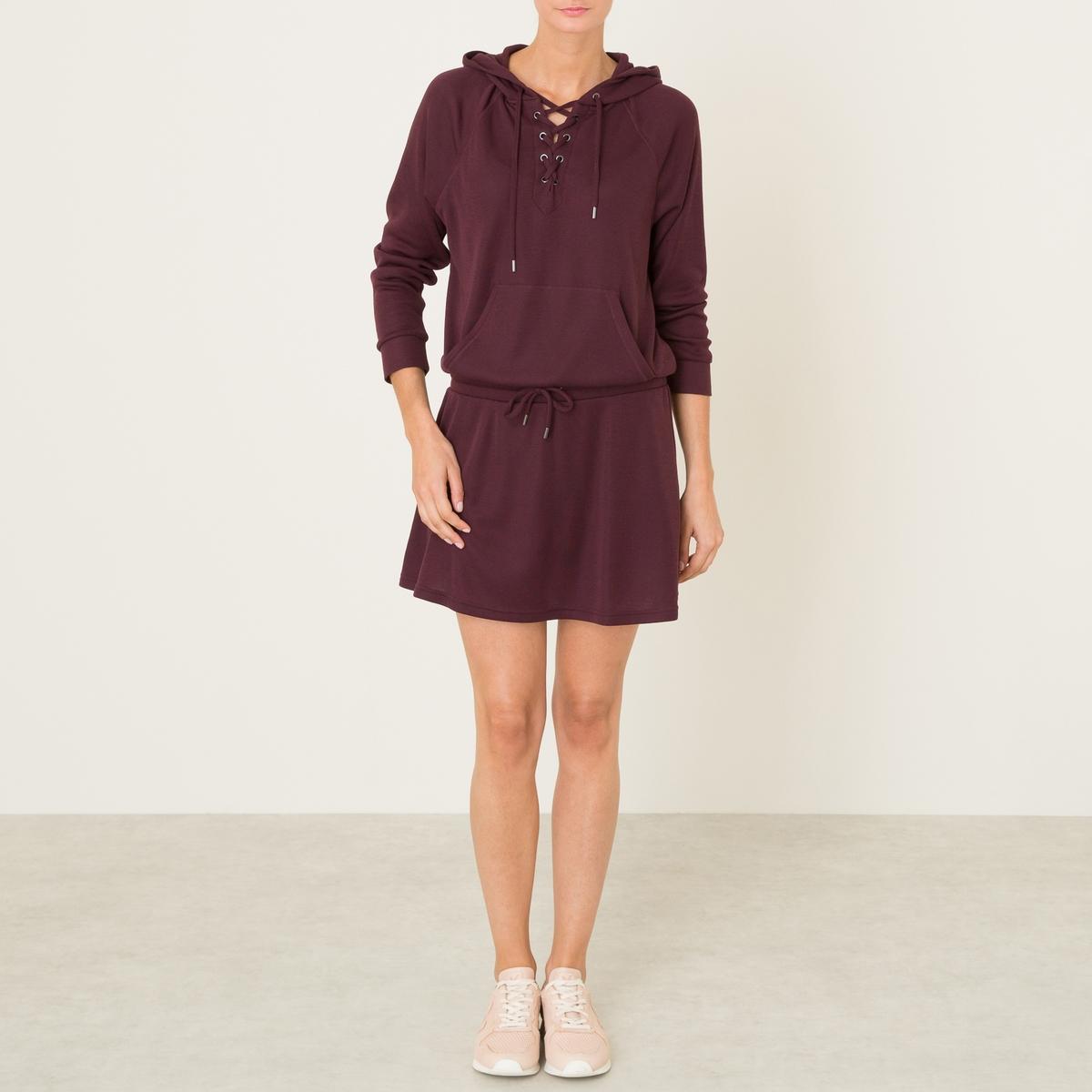Платье-пуловер с капюшономСостав и описание :Материал : 100% полиэстерДлина : 96 см. (для размера 36)Марка : THE KOOPLES SPORT<br><br>Цвет: бордовый