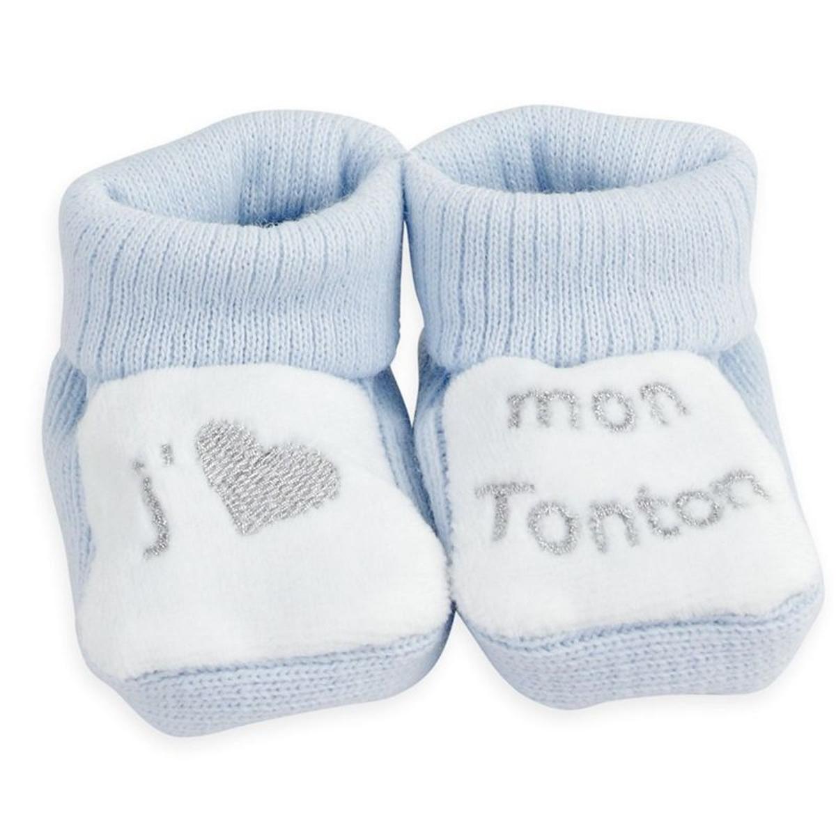 """1 paire de chaussons """"J'aime mon Tonton"""""""