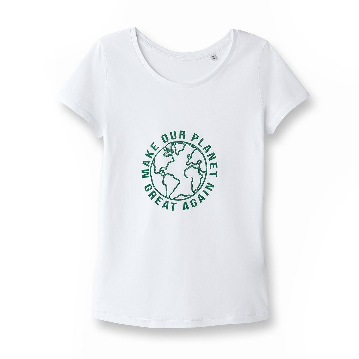 Футболка из биохлопкаЗа каждую проданную футболку, La Redoute перечисляет 1€ Envol'Vert..Также собранная сумма позволит участвовать в проекте озеленения леса в Колумбии. .                          Более подробно : http://envol-vert.org/projets/restauration-forestiere-et-noyer-maya/                 Состав и описаниеМатериал:100% био-хлопокМарка: La Redoute Collections совместно с Envol'Vert             Уход:             Стирать при 30° с изделиями схожих цветов             Отбеливание запрещено             Гладить при умеренной температуре             Сухая (химическая) чистка запрещена             Машинная сушка запрещена                          Преимущества : Био-продукт.             Выращенный без использования пестицидов и химических удобрений био-хлопок изготовлен с заботой о почве, воде и людях, возделывающих его.             Мы заботимся о сохранении окружающей среды и здоровья людей.<br><br>Цвет: белый,серый меланж<br>Размер: L.S.M.S
