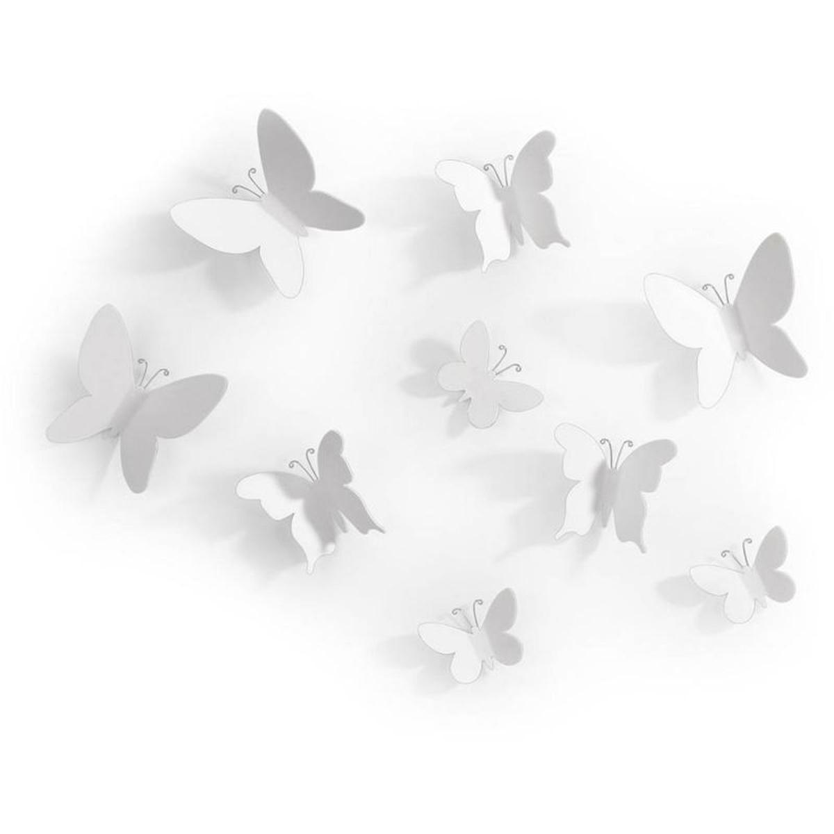 Décor mural adhésif 9 papillons blancs