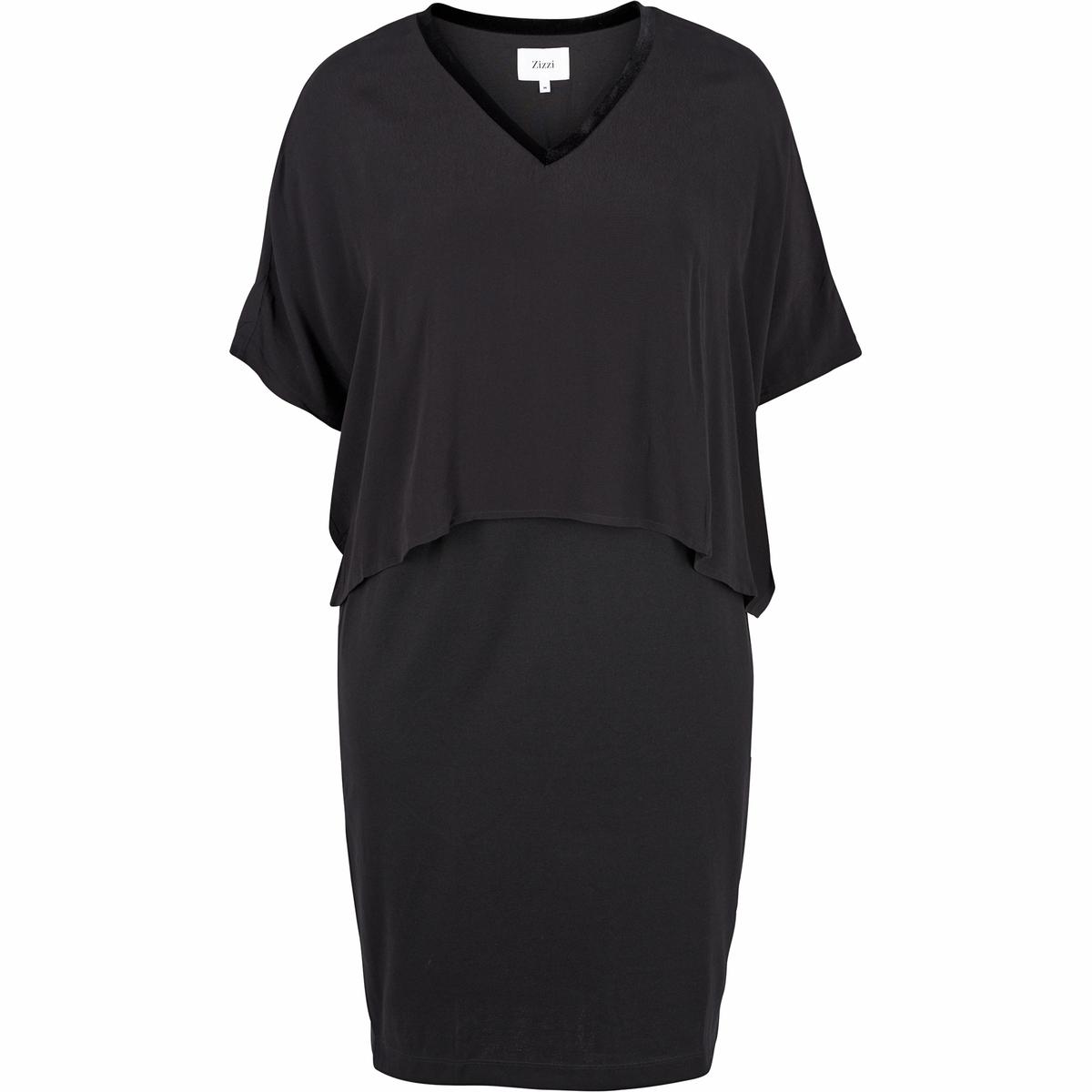 ПлатьеПлатье с красивой внутренней частью из облегающей тело вискозы. Красивая внешняя часть платья придает ему утонченный и женственный внешний вид. V-образный вырез, рукава до локтей.<br><br>Цвет: черный<br>Размер: 42/44 (FR) - 48/50 (RUS)
