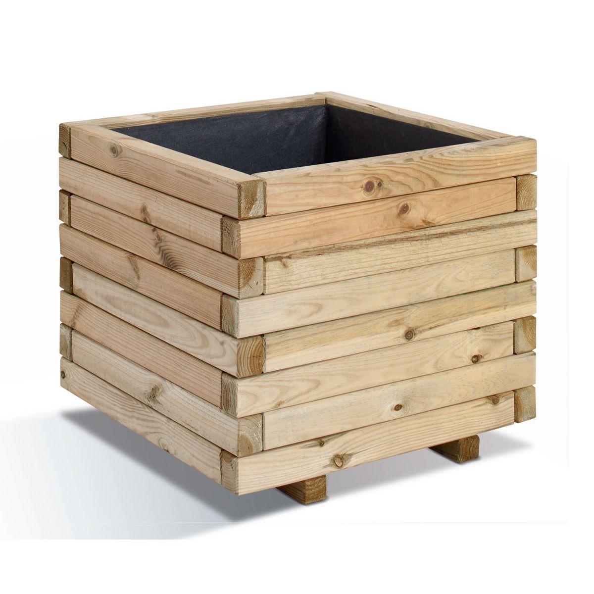 Jardinière bois carrée Stockolm 67L Jardipolys