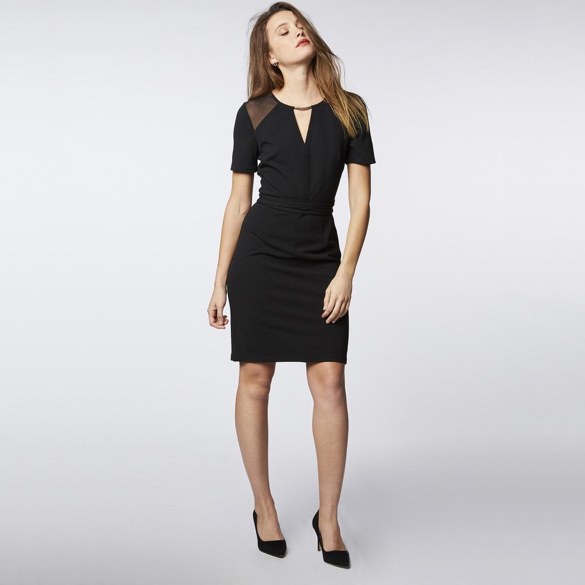 Платье La Redoute Облегающее с короткими рукавами 42 (FR) - 48 (RUS) черный платье la redoute расклешенное с короткими рукавами с гипюром 42 fr 48 rus черный
