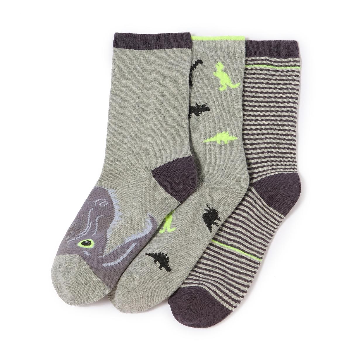 Комплект из 3 пар носков с рисунком динозавры
