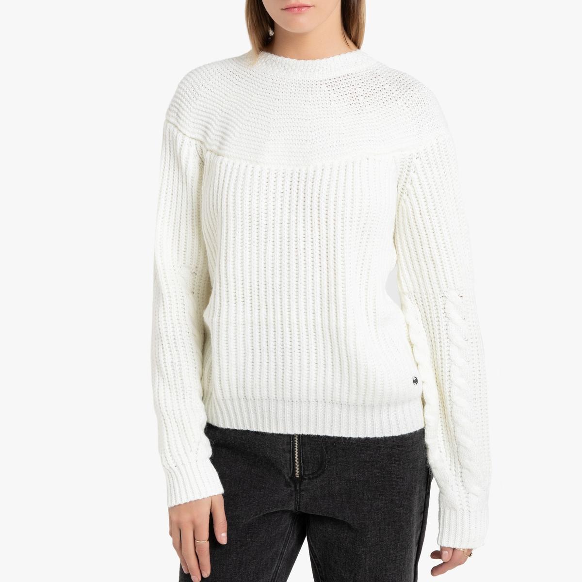 Пуловер La Redoute Из плотного трикотажа с вырезом с бантом сзади M бежевый пуловер la redoute с круглым вырезом из плотного трикотажа 3xl бежевый