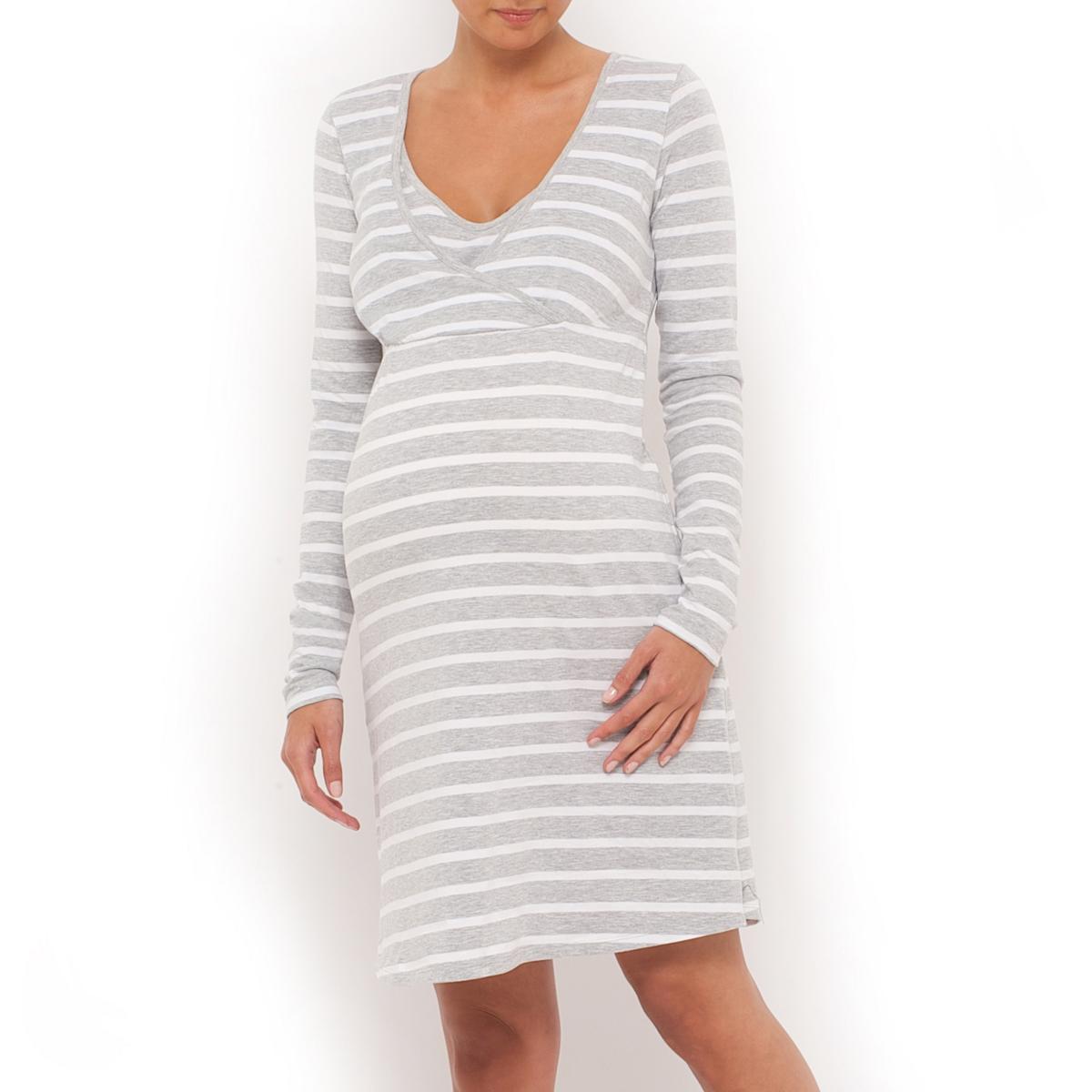 Рубашка ночная для беременных и кормящихНочная рубашка для периода беременности и кормления грудью, длинные рукава, V-образный вырез с запахом и закругленной вставкой. Эластичная вставка под линией груди. Разрезы по бокам. Длина ок.90 см.Ночная рубашка для беременных и кормящих. Джерси 95% хлопка, 5% эластана. Машинная стирка. Знак Oeko-Tex*.      *Международный лейбл Oeko-Tex® дает гарантию того, что изделия изготовлены без применения вредных и раздражающих кожу веществ.<br><br>Цвет: серый/белый в полоску