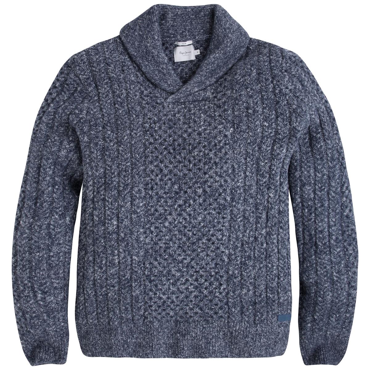 Пуловер крупной вязкиОписание:Детали  •  Длинные рукава •  Шалевый воротник •  Плотный трикотаж Состав и уход  •  53% акрила, 31% хлопка, 1% эластана, 6% полиамида, 9% полиэстера •  Следуйте советам по уходу, указанным на этикетке<br><br>Цвет: синий<br>Размер: S