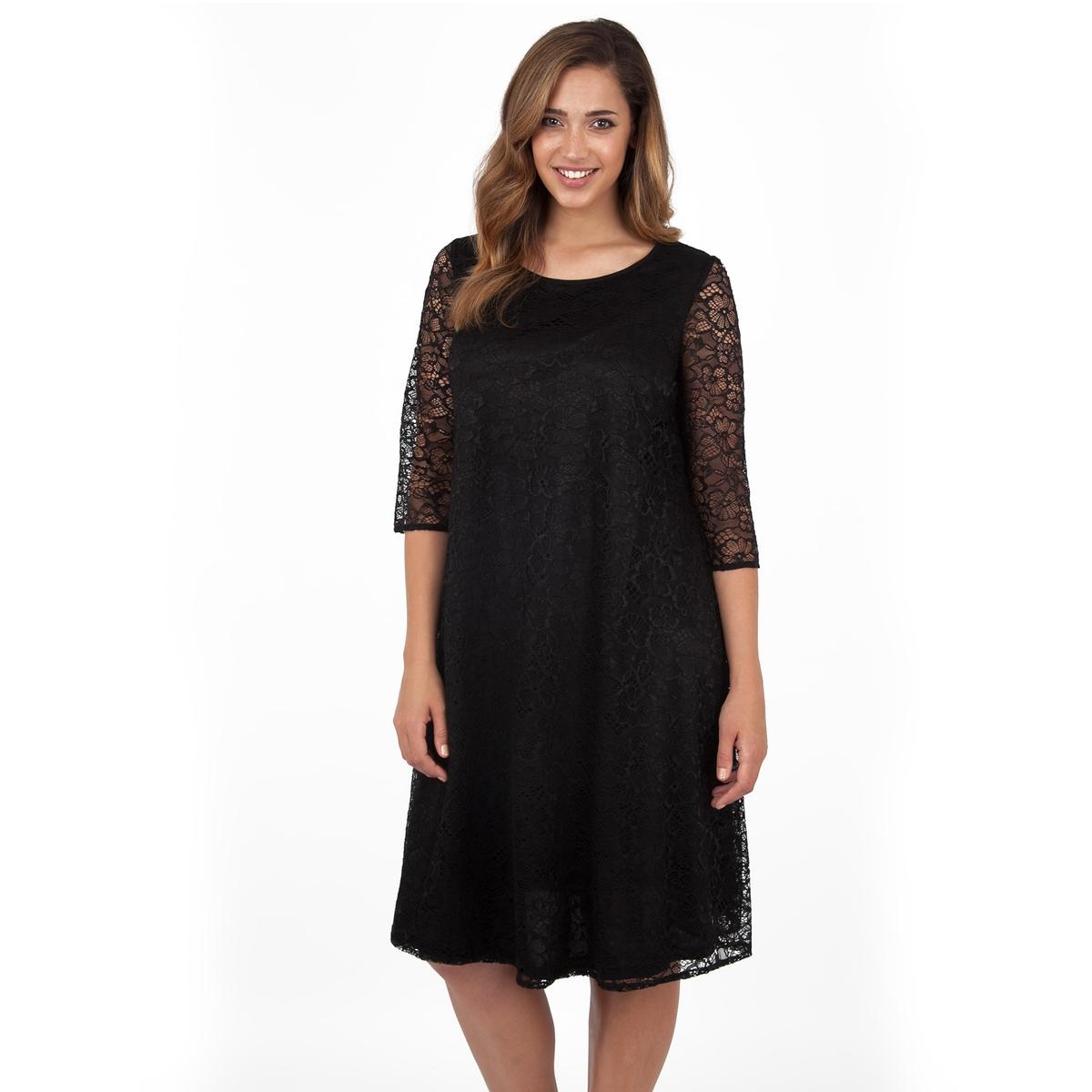 ПлатьеПлатье с рукавами 3/4 - LOVEDROBE. Красивое кружевное платье с отделкой из прозрачного кружева на рукавах. Длина ок.104 см. 100% полиэстера.<br><br>Цвет: черный