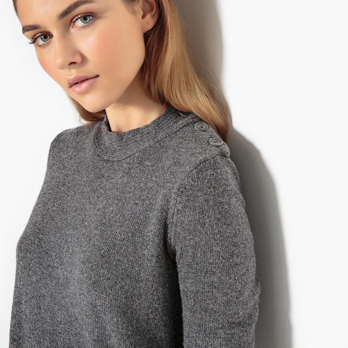 Пуловер шерстяной с оригинальными плечами