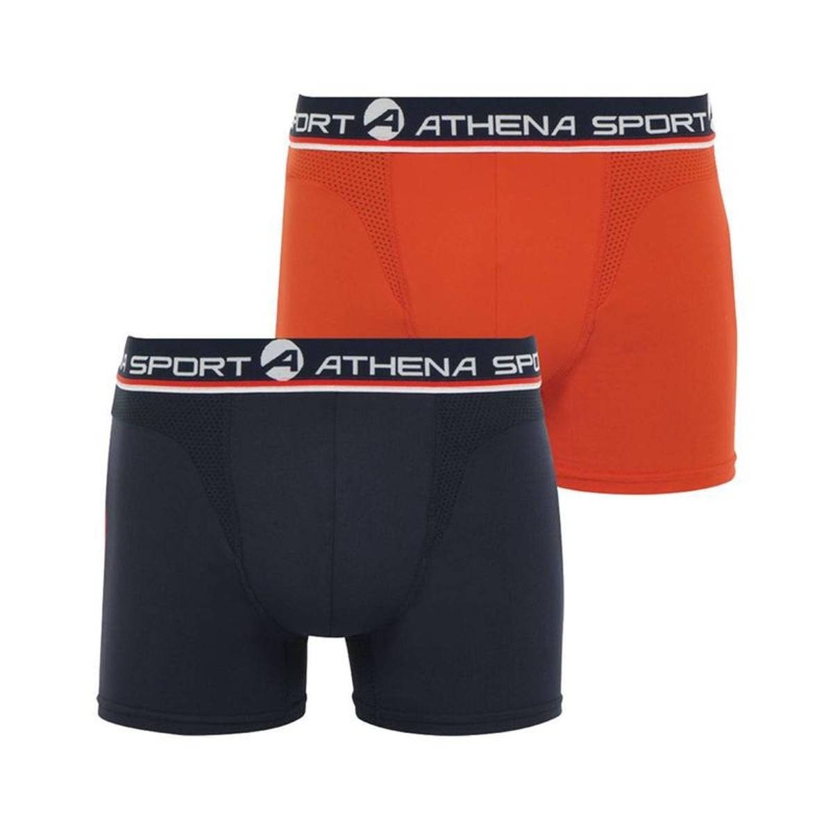 Lot de 2 boxers Athena en polyamide mélangée stretch noir et orange