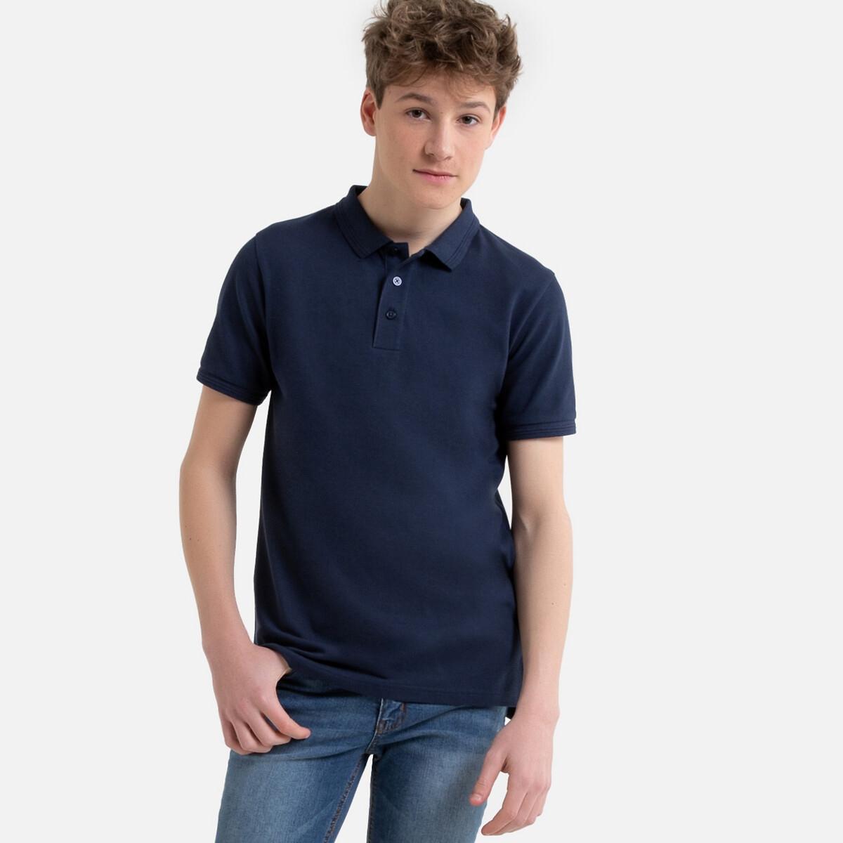 Футболка-поло LaRedoute С короткими рукавами из трикотажа пике 10-16 лет 14 лет - 162 см синий футболка поло la redoute из трикотажа пике shaker xxl синий