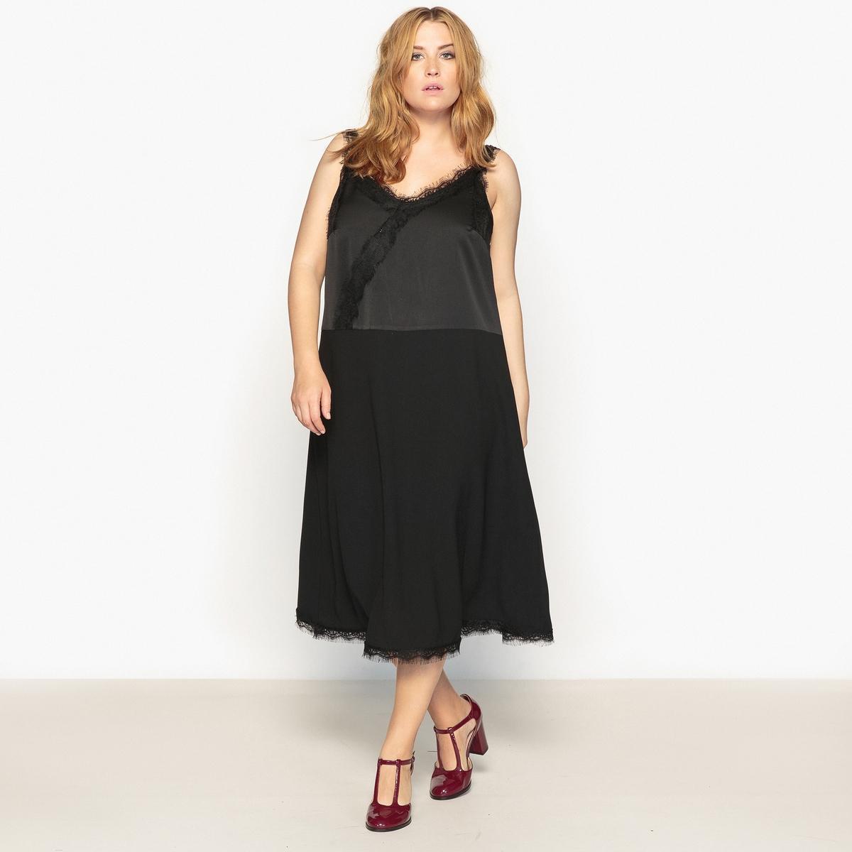 Платье прямое длинное, однотонное, с тонкими бретелямиДетали  •  Форма : прямая   •  Длина ниже колен •  Тонкие бретели     •   V-образный вырезСостав и уход  •  100% полиэстер   •  Следуйте советам по уходу, указанным на этикетке  Товар из коллекции больших размеров<br><br>Цвет: черный