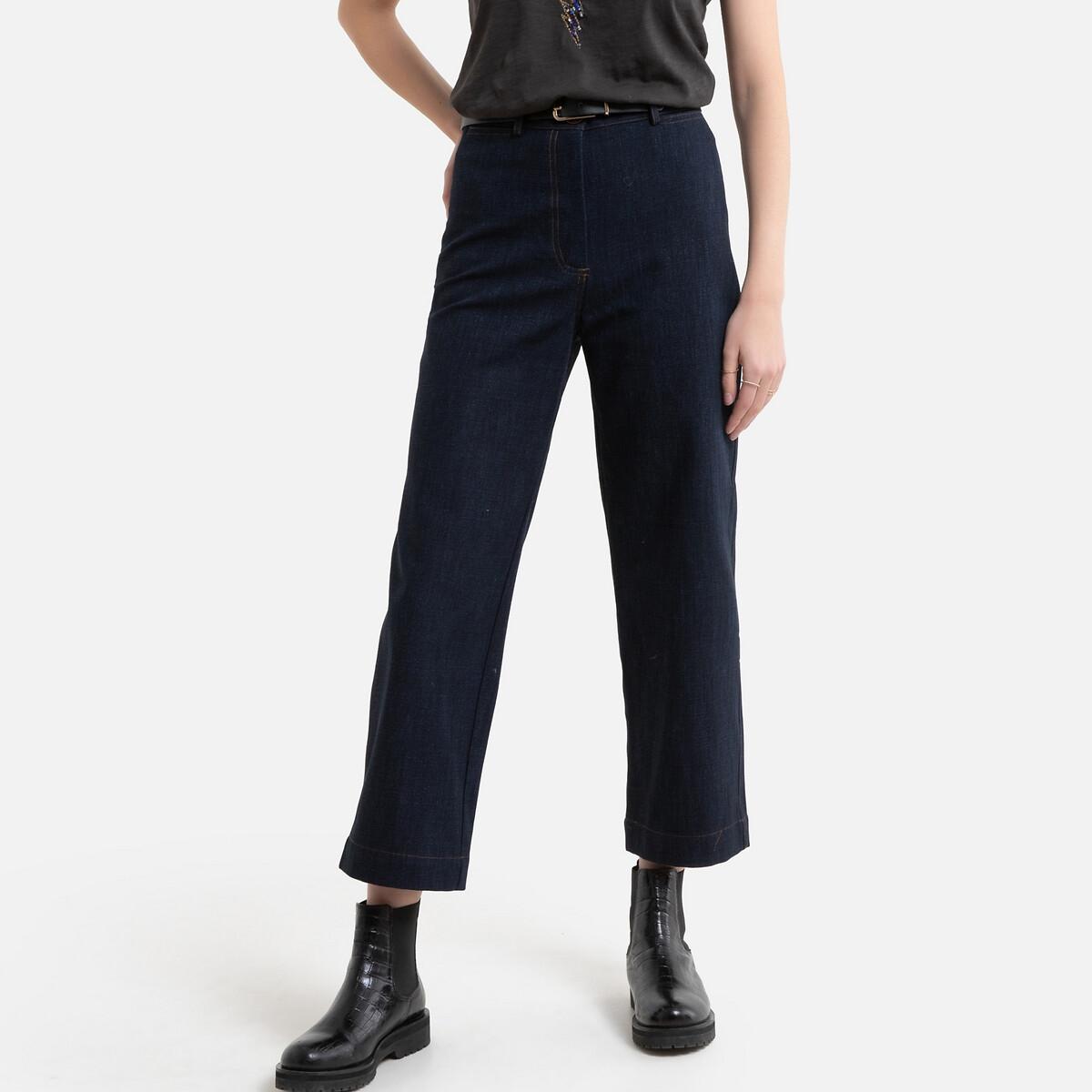 Джинсы LaRedoute Широкие короткие с завышенной талией COOKIE M 38 (FR) - 44 (RUS) синий брюки la redoute в полоску широкие с высокой талией 38 fr 44 rus черный