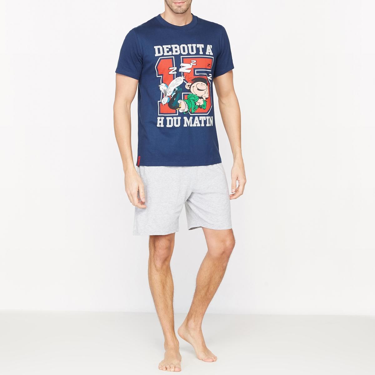 Пижама с шортами с рисунком и короткими рукавами