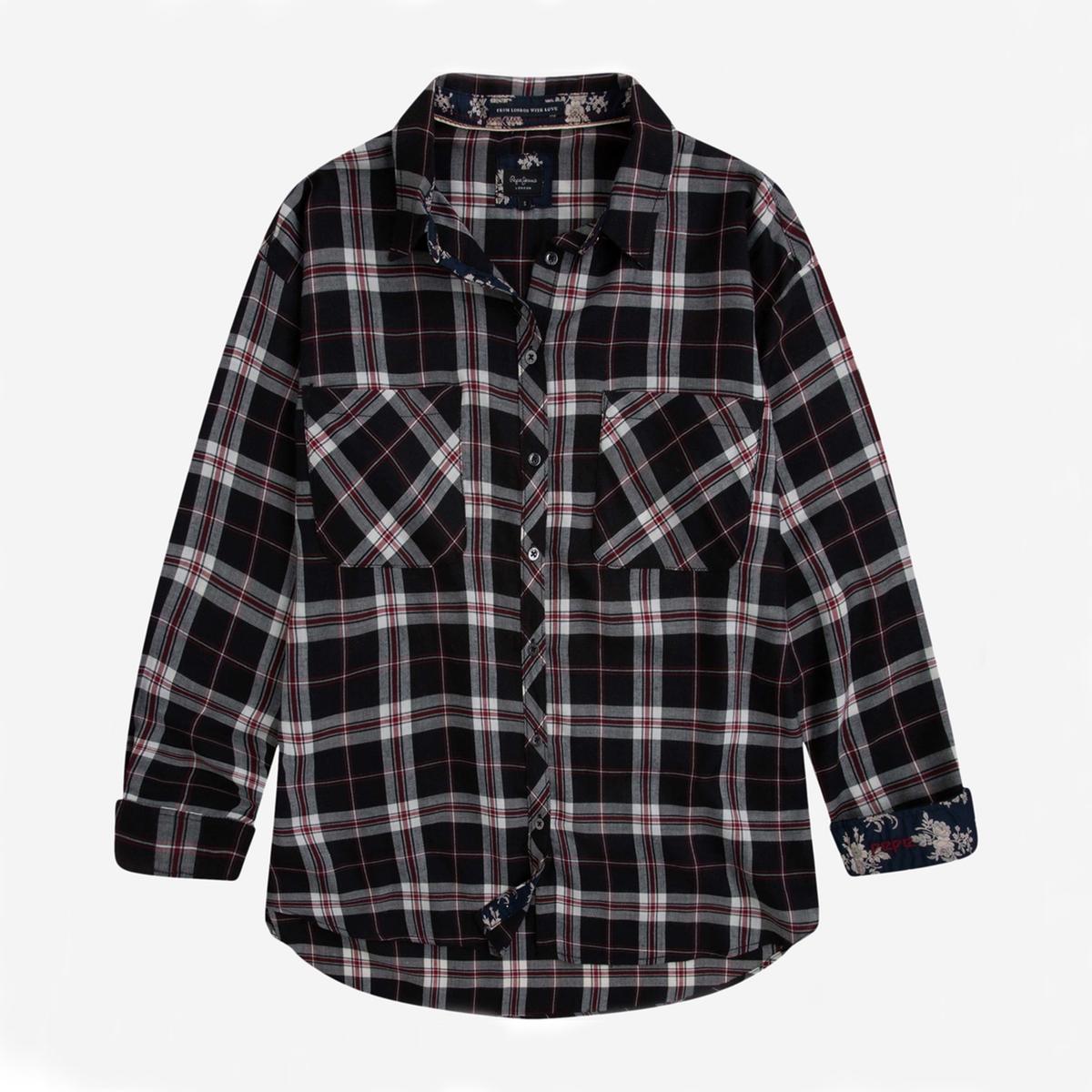 Camisa a cuadros con bolsillos en el pecho