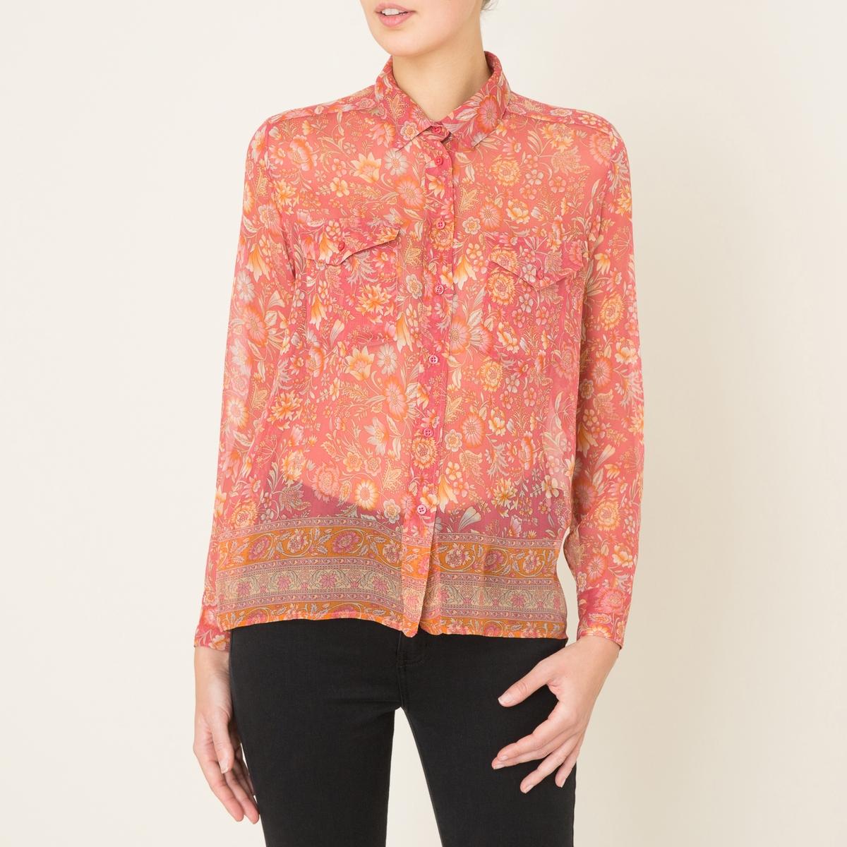 Рубашка из шелка с принтомСостав и описание:    Материал : 100% вискоза   Марка : THE KOOPLES SPORT<br><br>Цвет: розовый