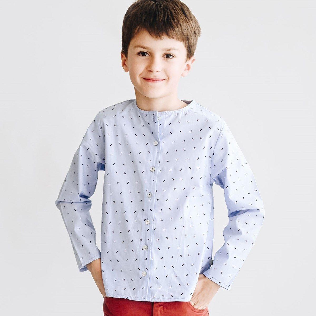 Chemise garçon bleu et triangles
