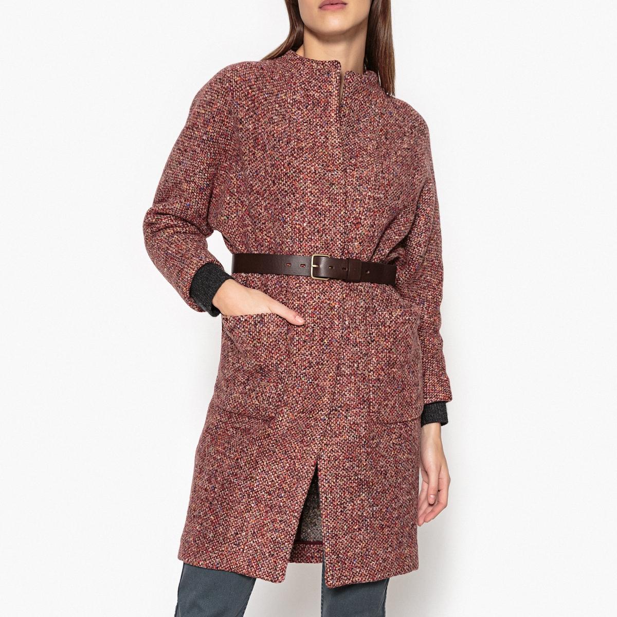 Пальто из разноцветного трикотажа JANUARYОписание:Пальто BA&amp;SH - модель JANUARY из разноцветного шерстяного трикотажа и шёлка с кожаным поясом на пряжке.Детали •  Длина : средняя •  Без воротника •  Без застежкиСостав и уход •  25% шёлка, 45% шерсти, 30% полиамида •  Следуйте рекомендациям по уходу, указанным на этикетке изделия •  2 боковых кармана<br><br>Цвет: разноцветный<br>Размер: M