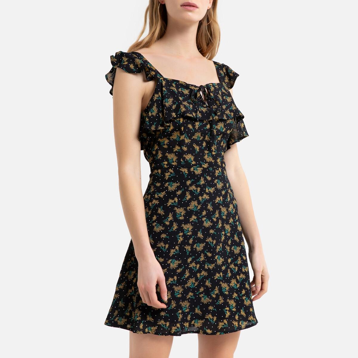 цена Платье La Redoute Расклешенное укороченное на тонких бретелях 40 (FR) - 46 (RUS) черный онлайн в 2017 году